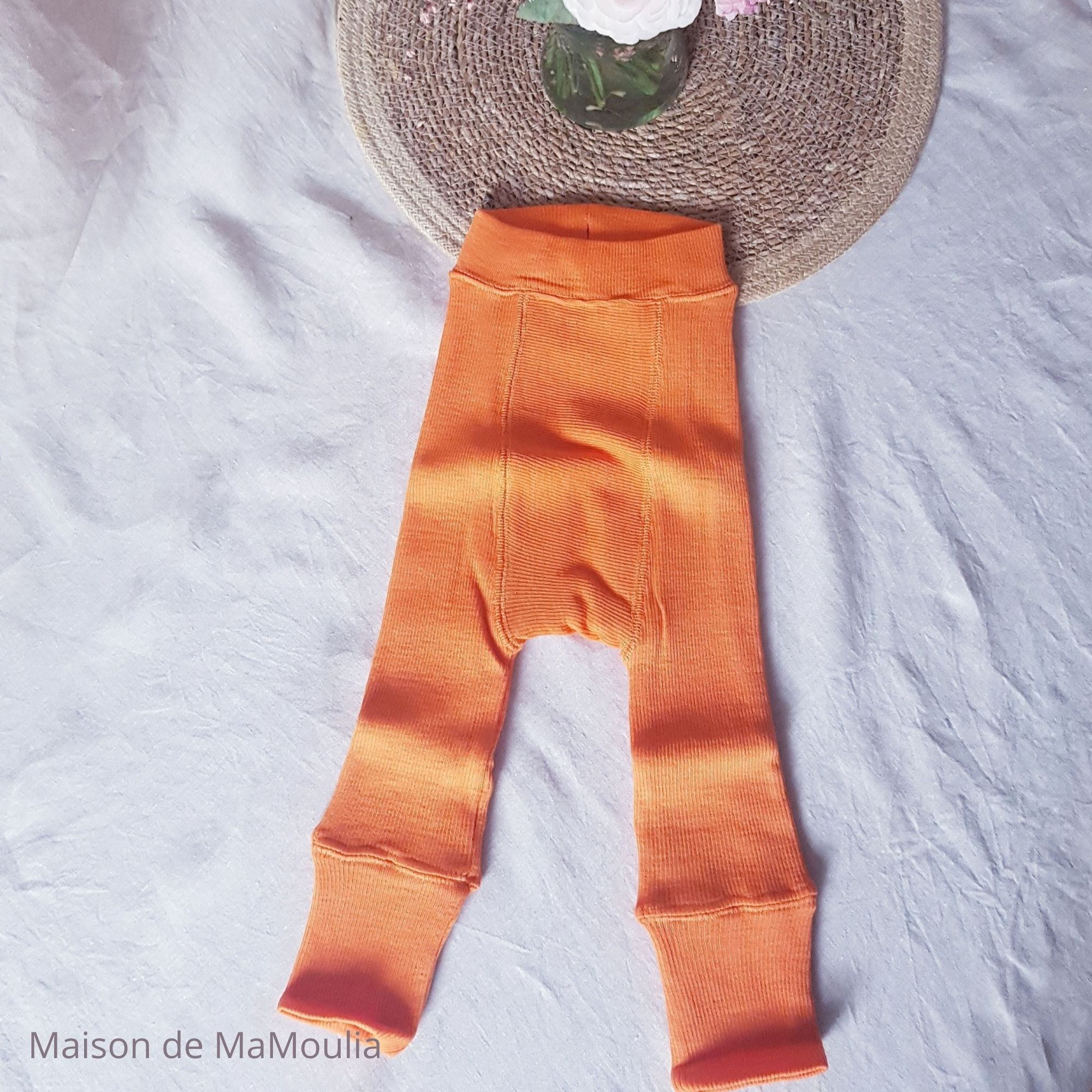 MANYMONTHS - LONGIES Pantalon Évolutif - 100% laine mérinos - Réversible - ORANGE/ROSE