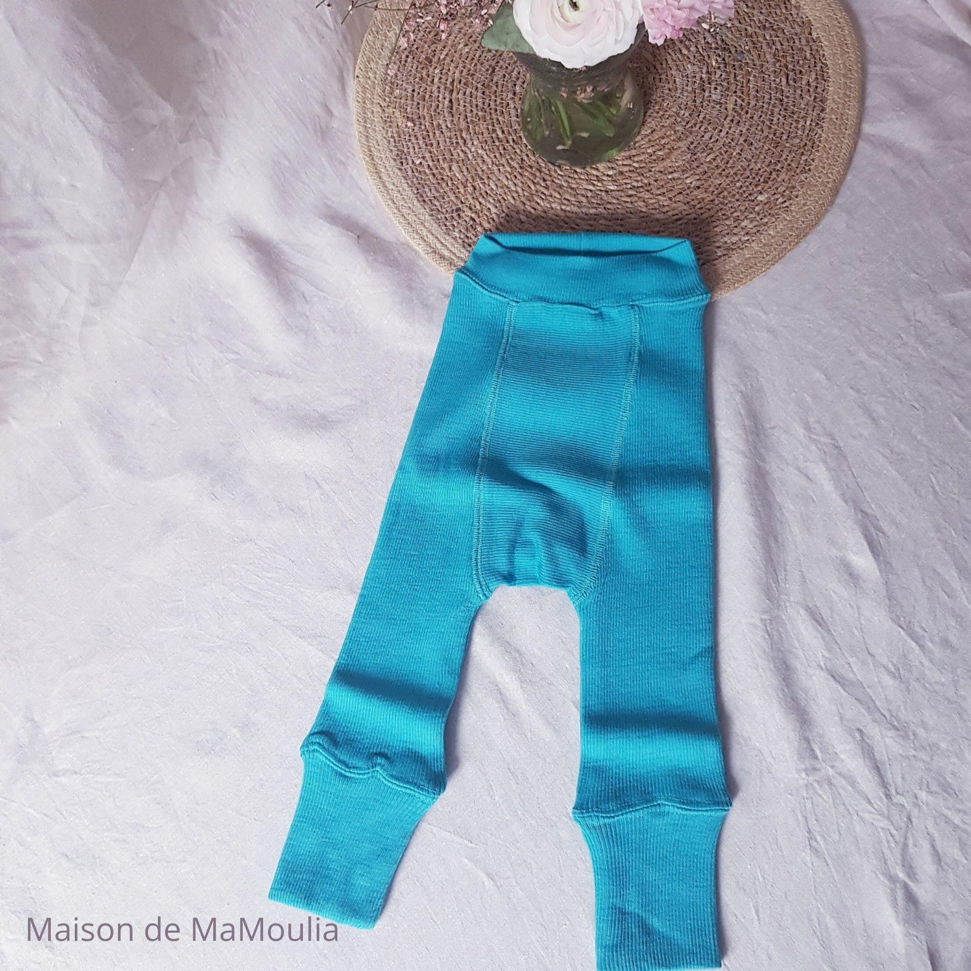 MANYMONTHS - LONGIES Pantalon Évolutif - 100% laine mérinos - Réversible - TURQUOISE/BLEU