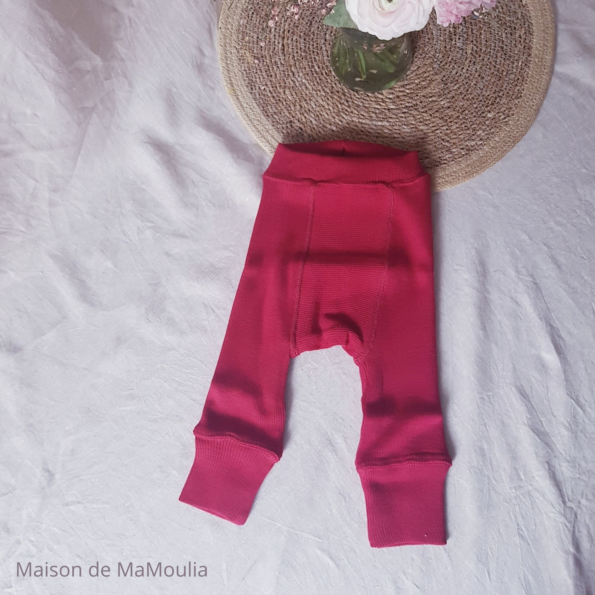 MANYMONTHS - LONGIES Pantalon Évolutif - 100% laine mérinos - Réversible - CRANBERRY/CORAL