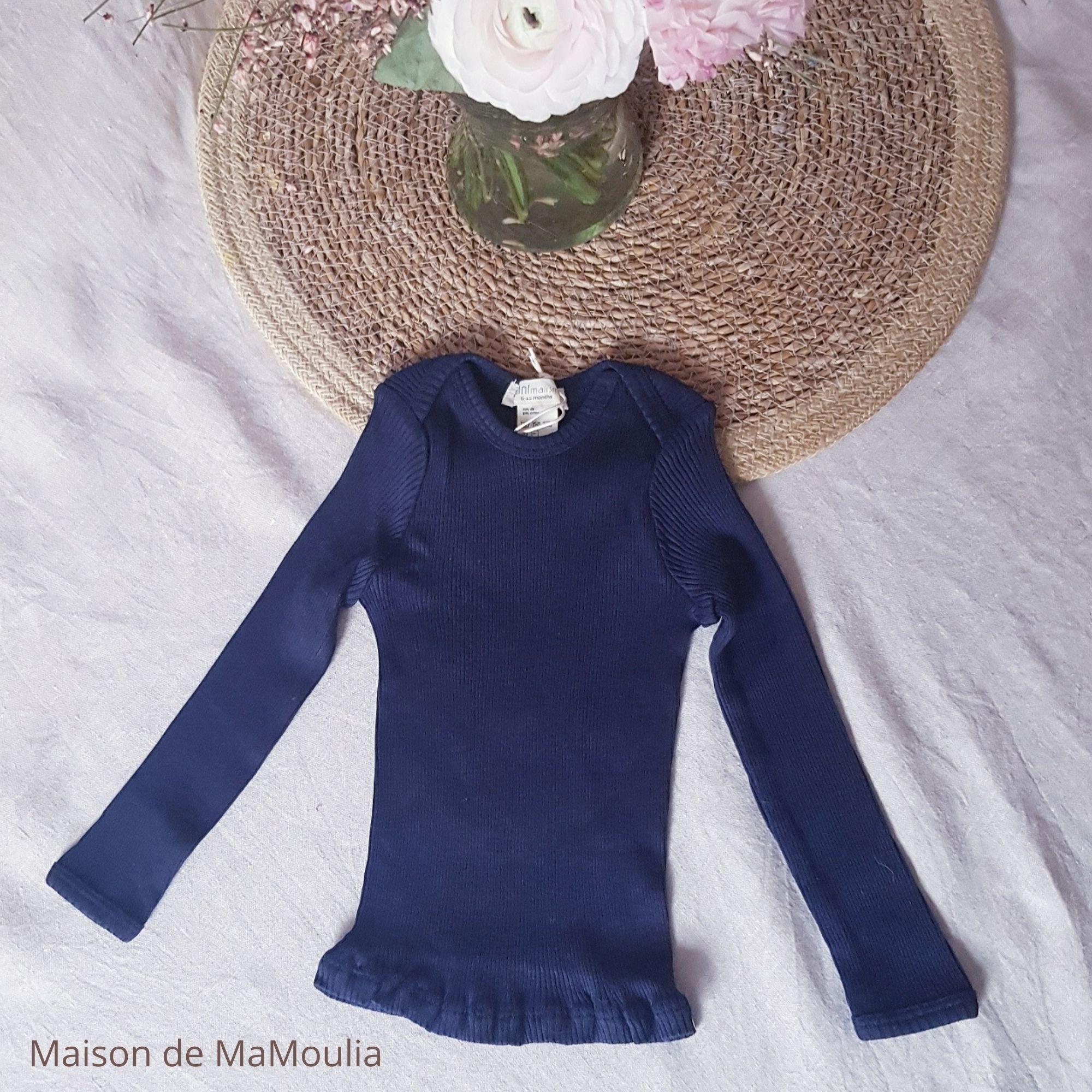 MINIMALISMA - T-shirt bébé - Soie 70% / coton 30% - Belfast - Dark blue