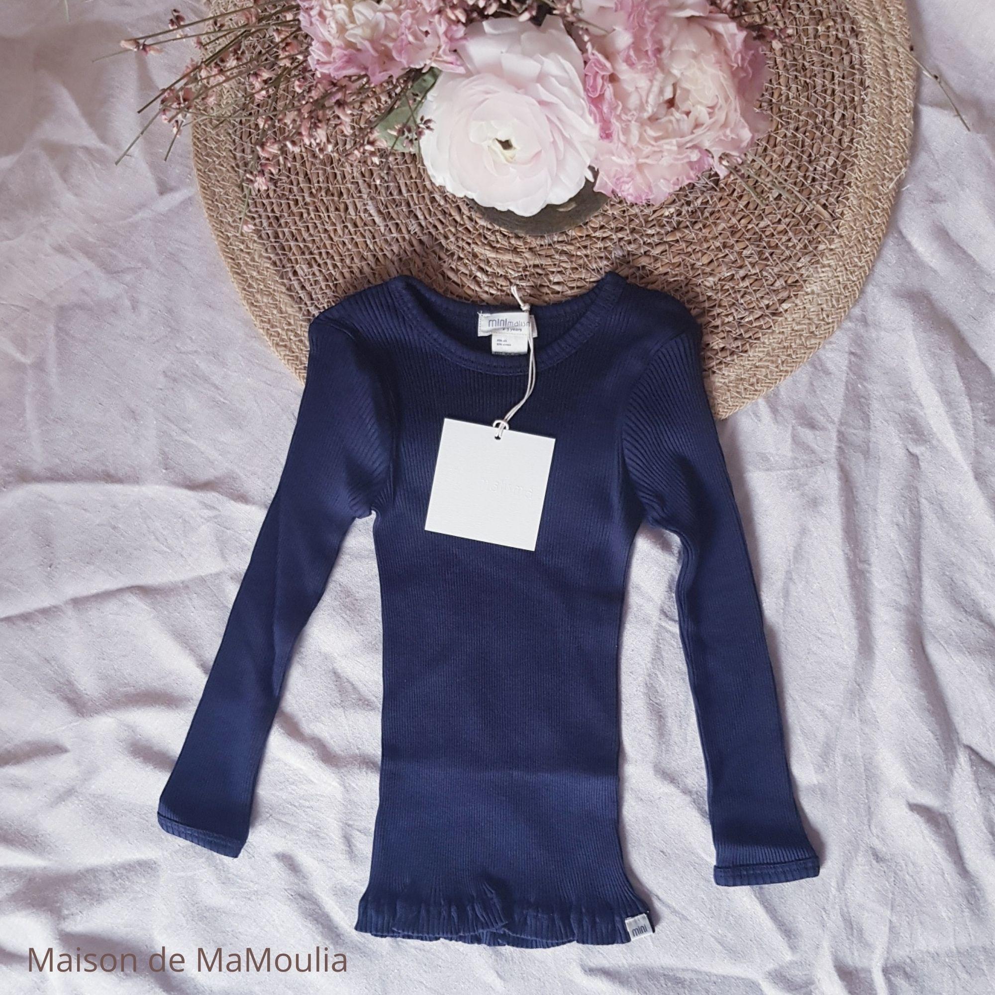 MINIMALISMA - T-shirt enfant - Soie 70% / coton 30% - Bergen - Dark blue