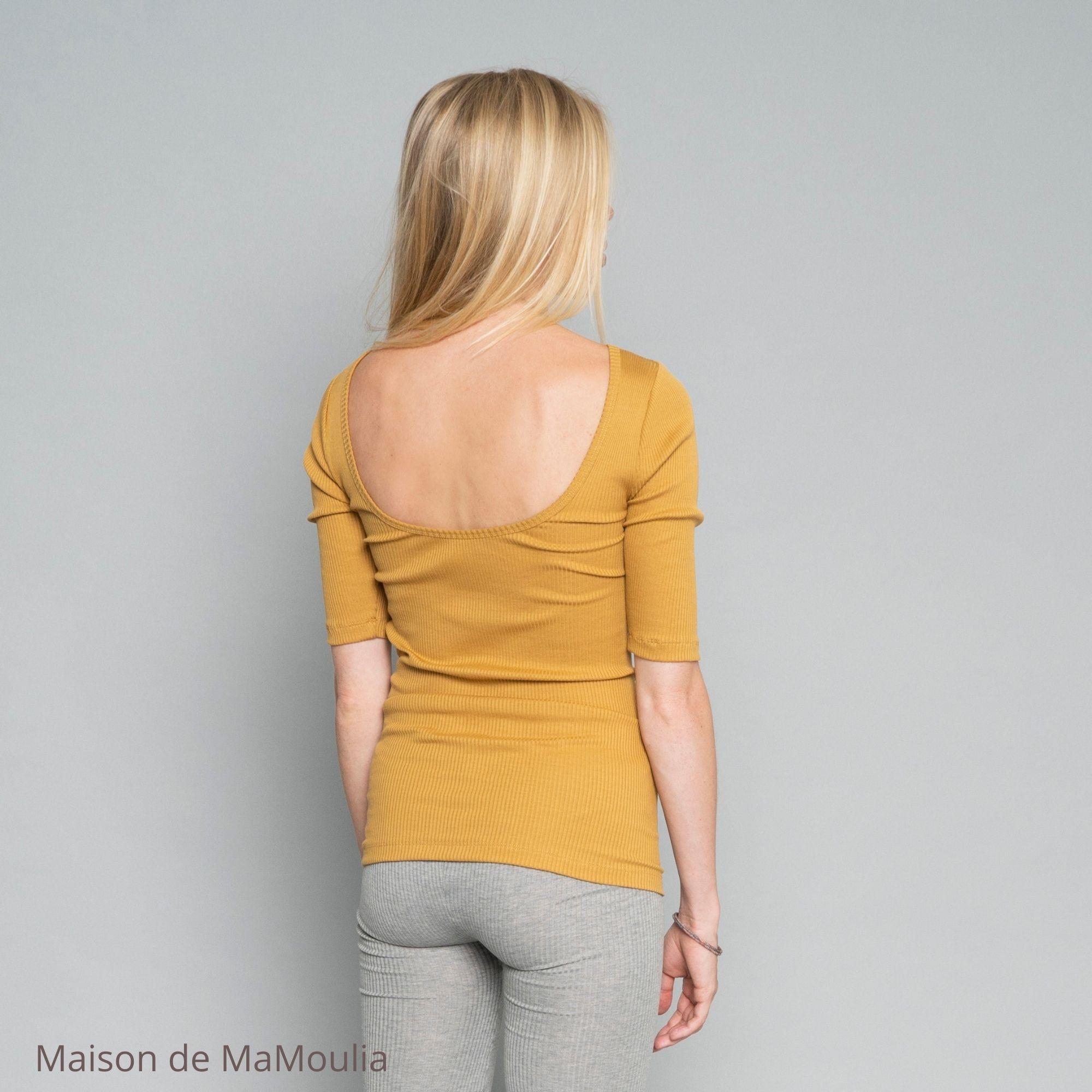 MINIMALISMA - Top - manches 3/4 - Soie 70%/coton 30%- Golden leaf