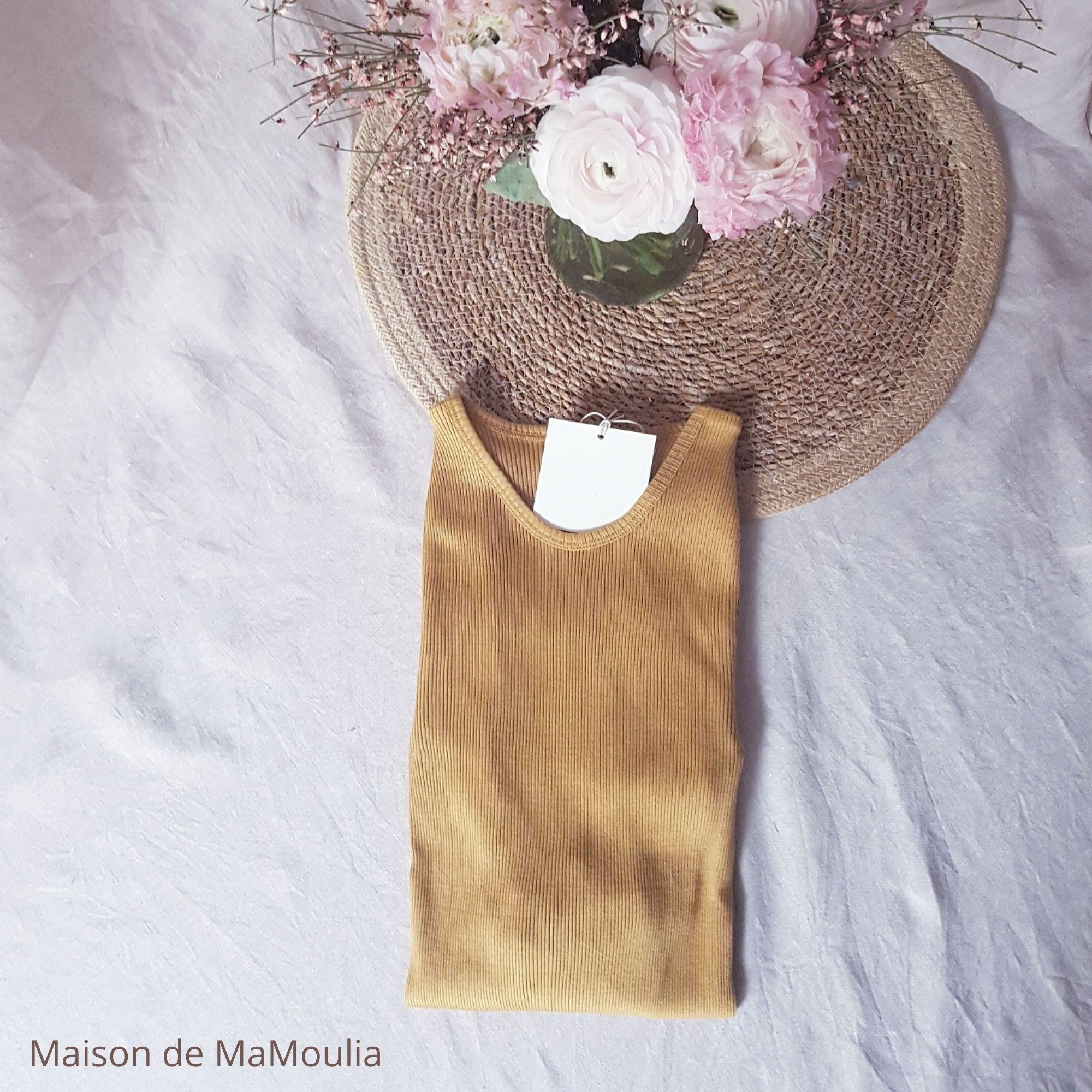 MINIMALISMA - Top pour femme - manches longues - Soie 70% / coton 30% - Gerda - Golden leaf