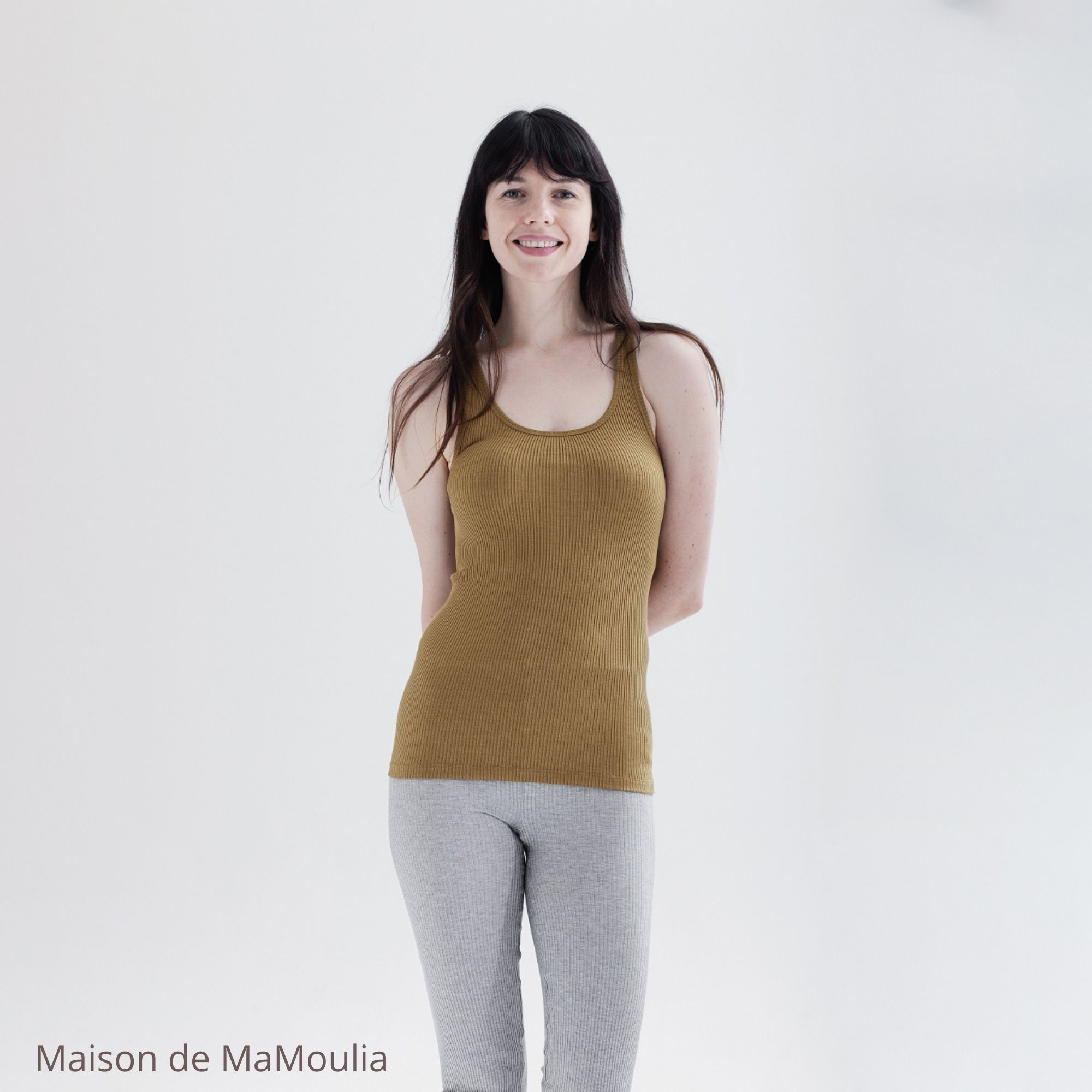 MINIMALISMA - Débardeur femme - Soie 70% / coton 30% - Seaweed
