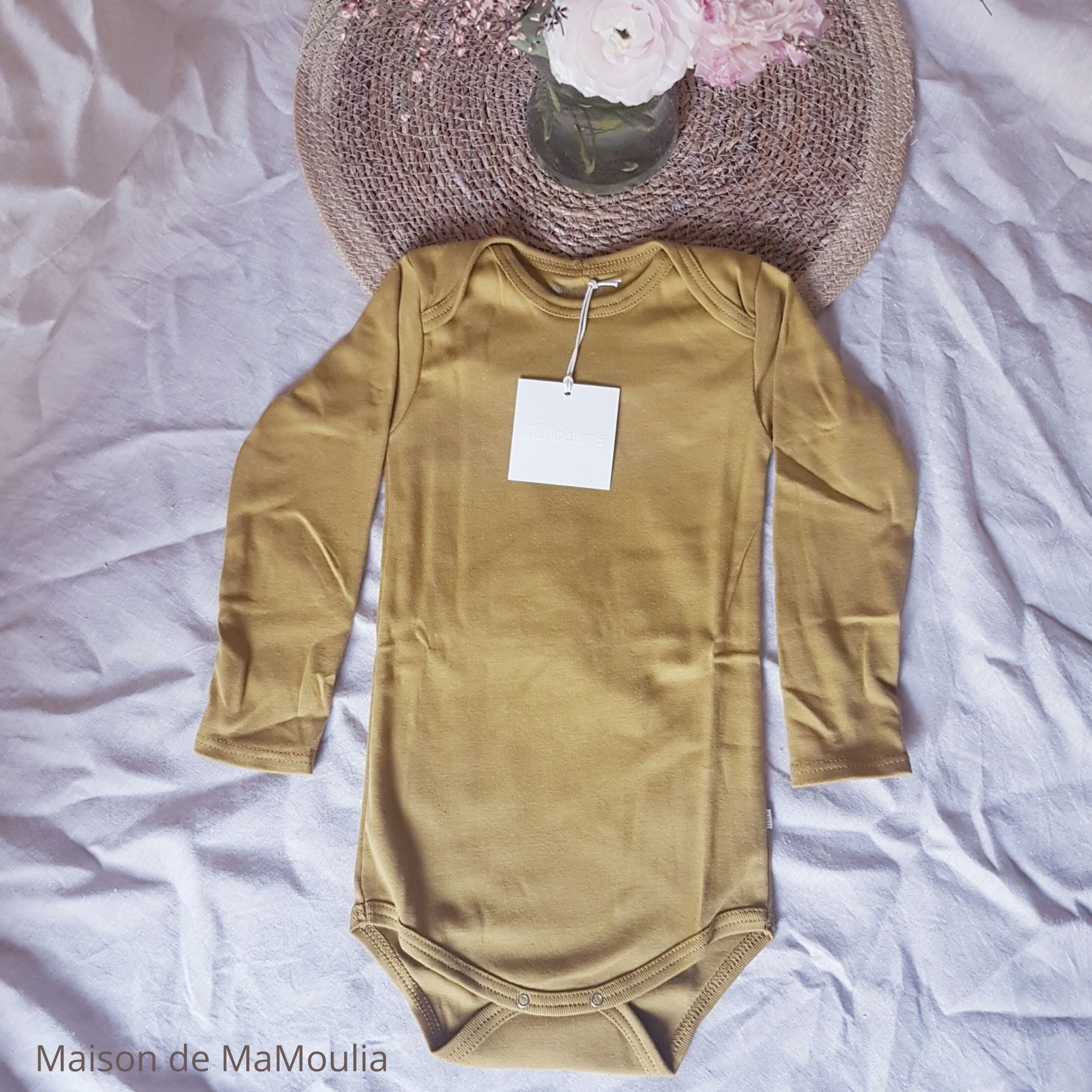 MINIMALISMA - Body bébé - 100 % coton bio - Nebel - Golden leaf