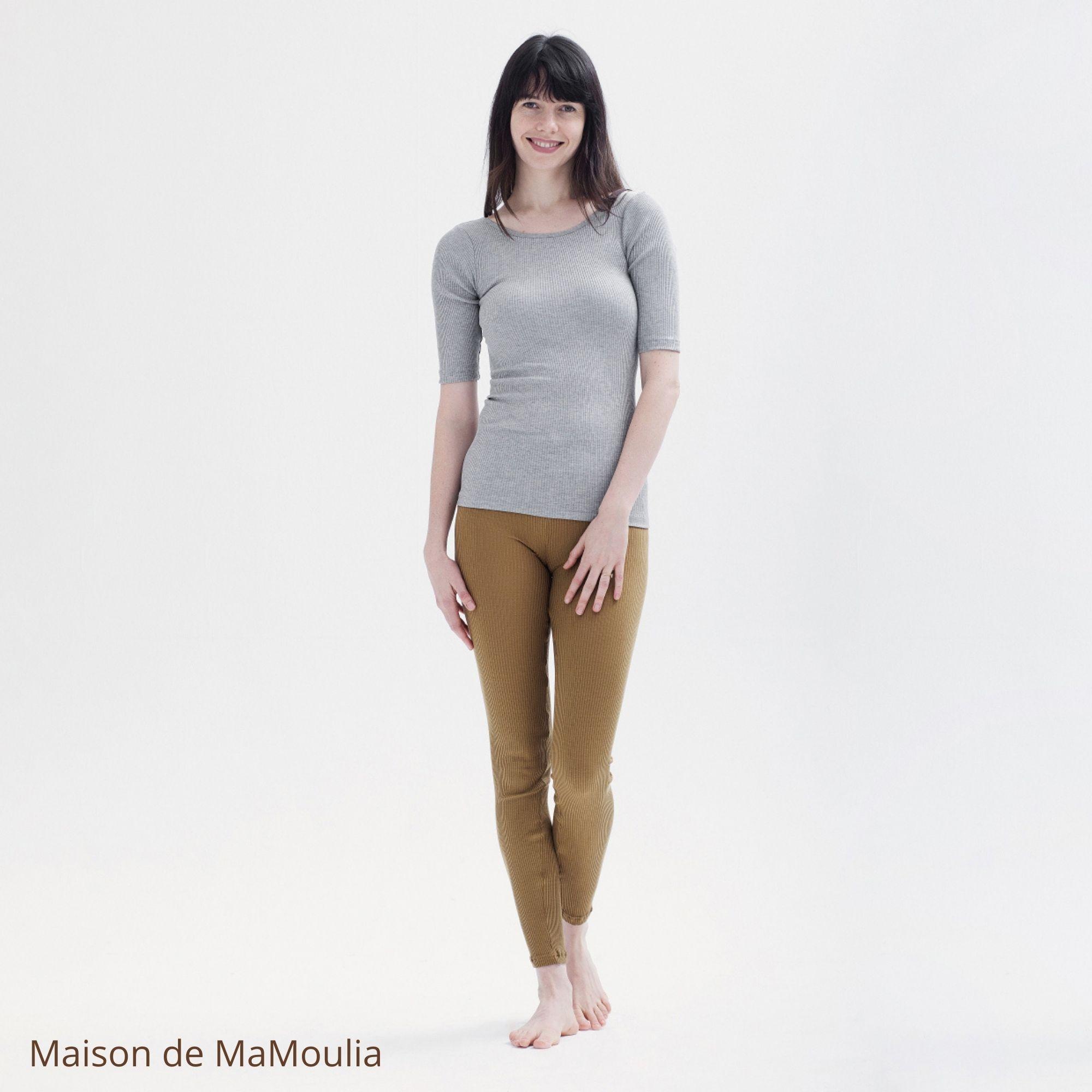 MINIMALISMA - Legging femme - Soie 70% / coton 30% - Great - Seaweed