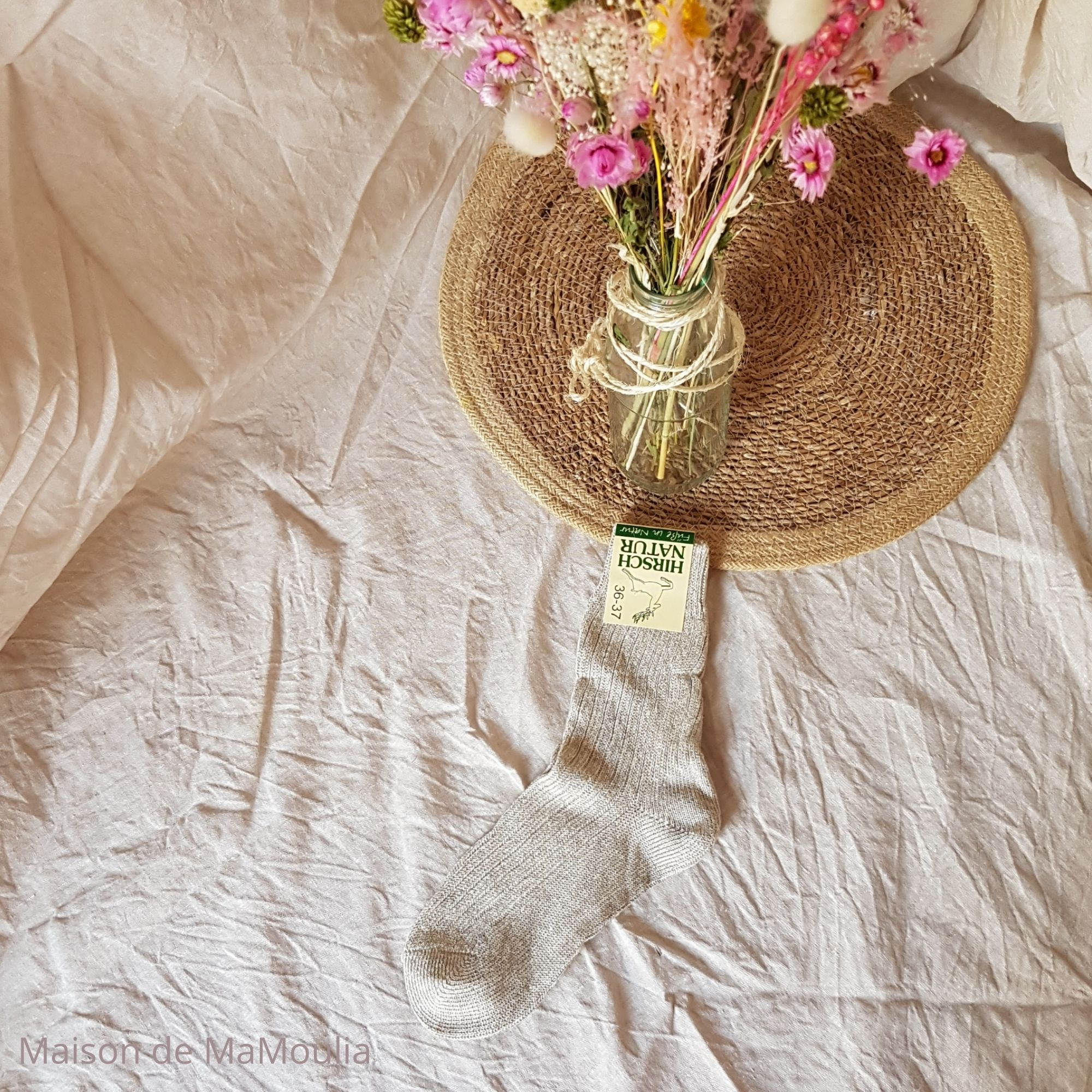 HIRSCH Natur - Chaussettes Longlife en coton/lin - pour adulte - Beige
