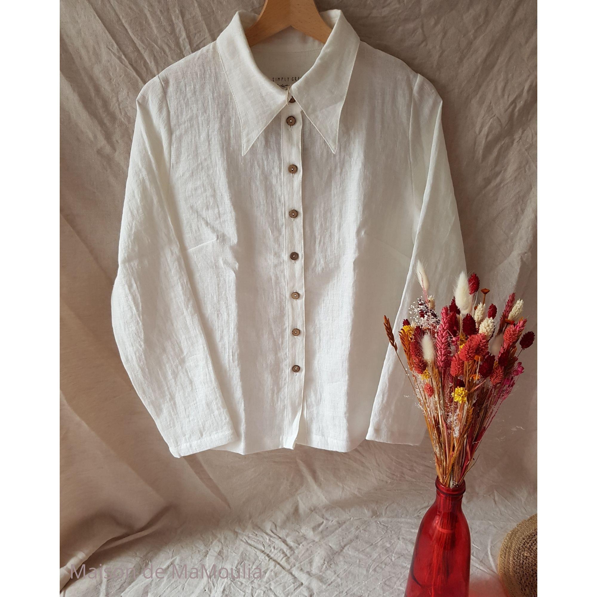 SIMPLY GREY - Chemise pour femme - 100% lin lavé - Blanc