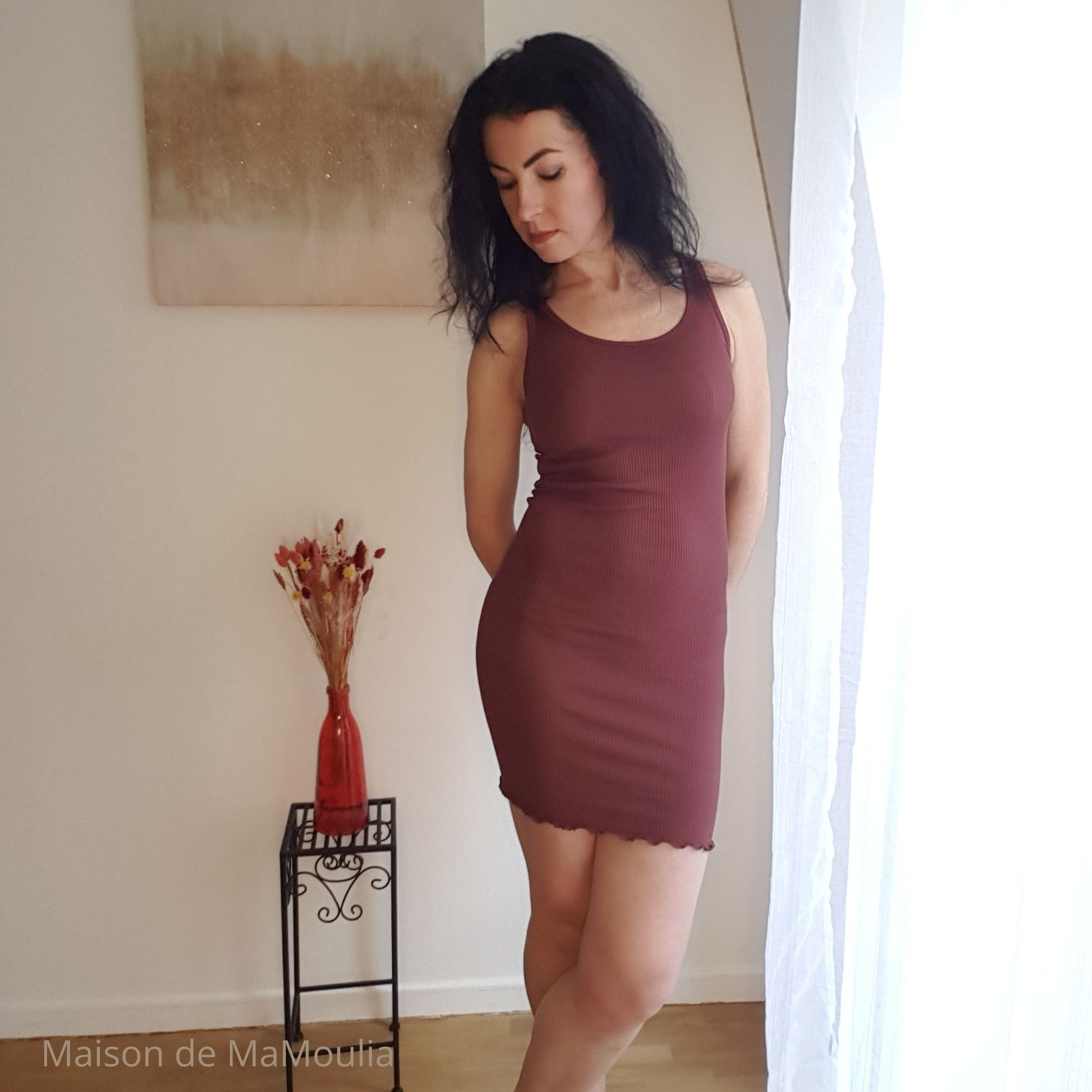 MINIMALISMA - Robe ou débardeur pour femme - Soie 70% / coton 30% - Gry - Mahogany