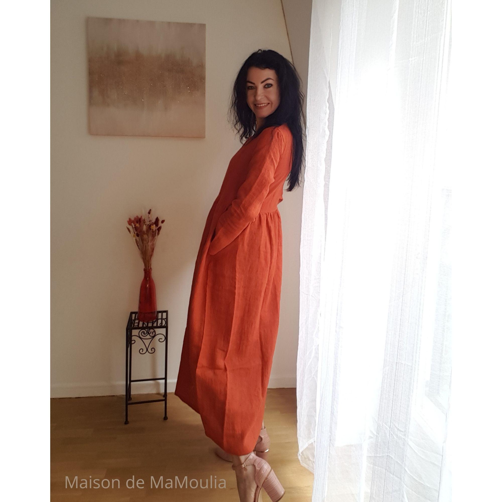 SIMPLY GREY - Robe très longue Boho pour femme - 100% lin lavé - Rouge