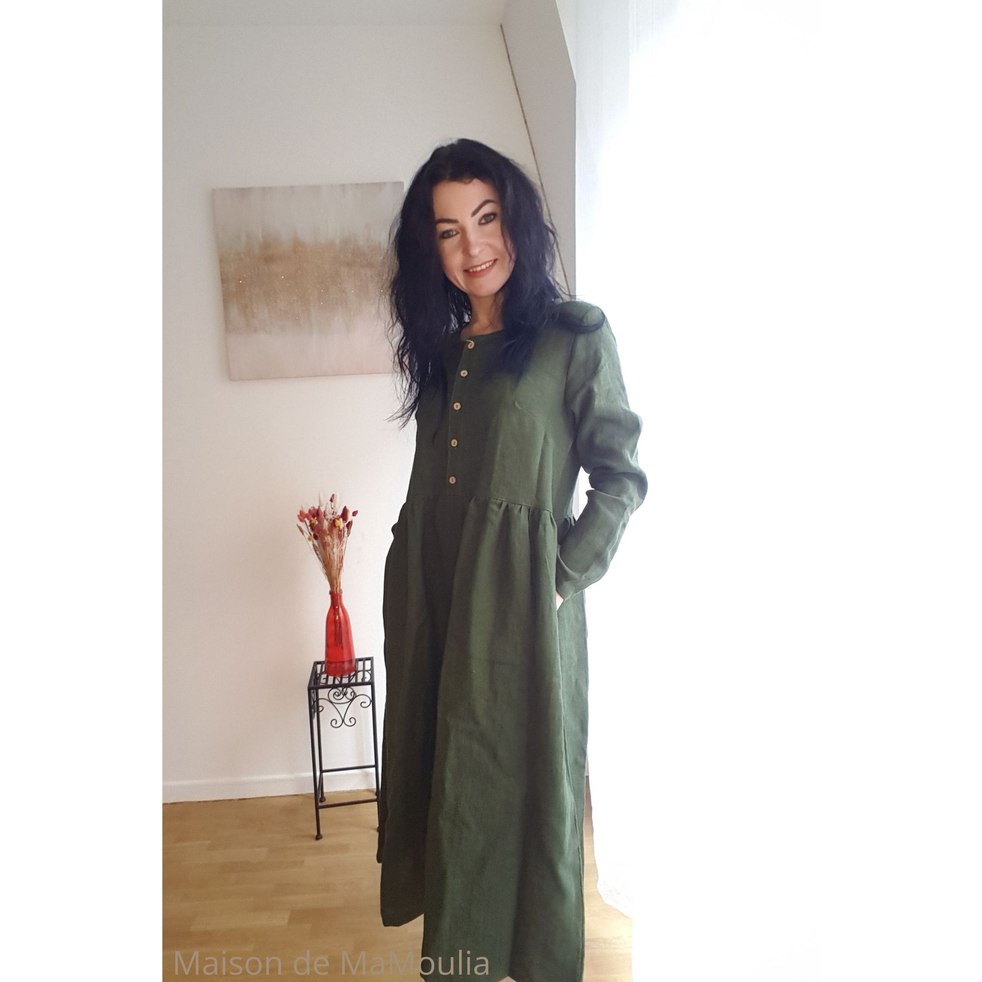 SIMPLY GREY - Robe très longue Boho pour femme - 100% lin lavé - Vert forêt