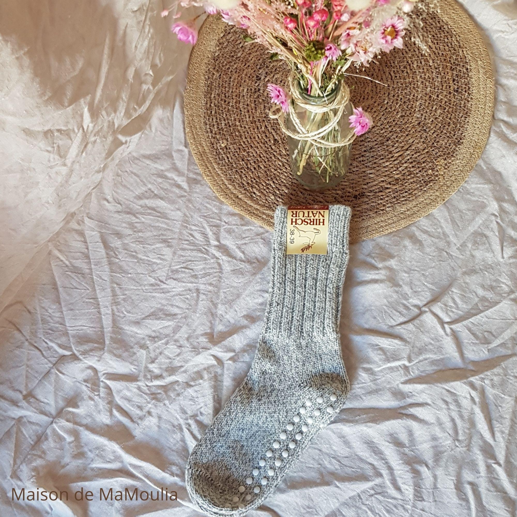 HIRSCH Natur - Chaussettes Antidérapantes Épaisses - pour adulte - 100% laine vierge bio