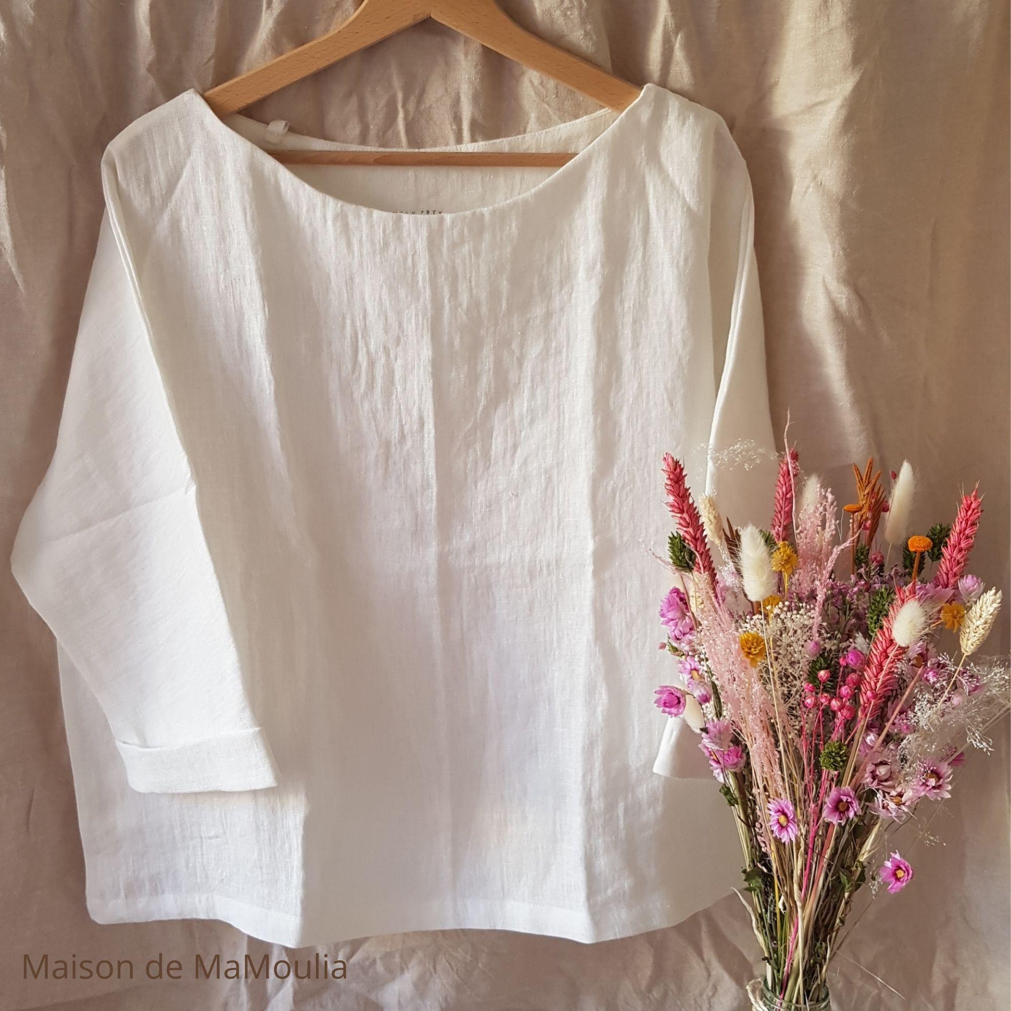 SIMPLY GREY - Blouse oversize - Manches 3/4 - pour femme - 100% lin lavé - Blanc