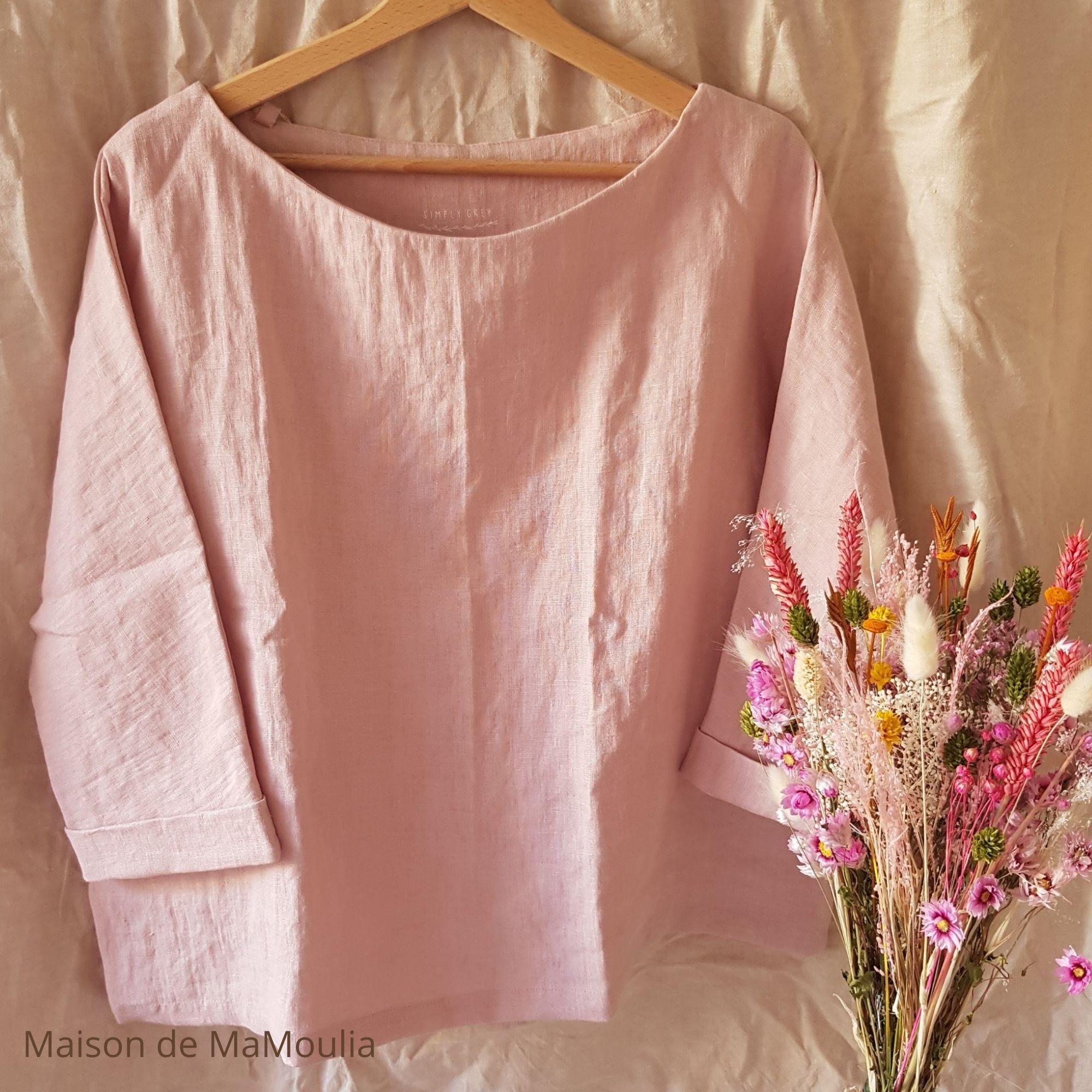 SIMPLY GREY - Blouse oversize - Manches 3/4 - pour femme - 100% lin lavé - Rose pale
