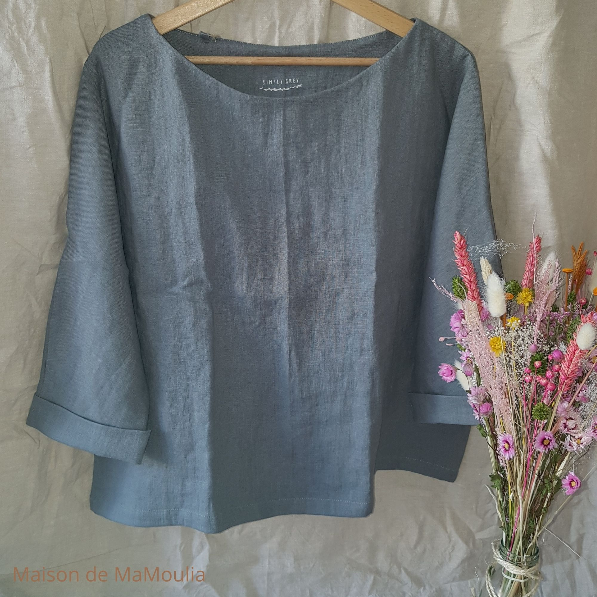 SIMPLY GREY - Blouse oversize - Manches 3/4 - pour femme - 100% lin lavé - Gris