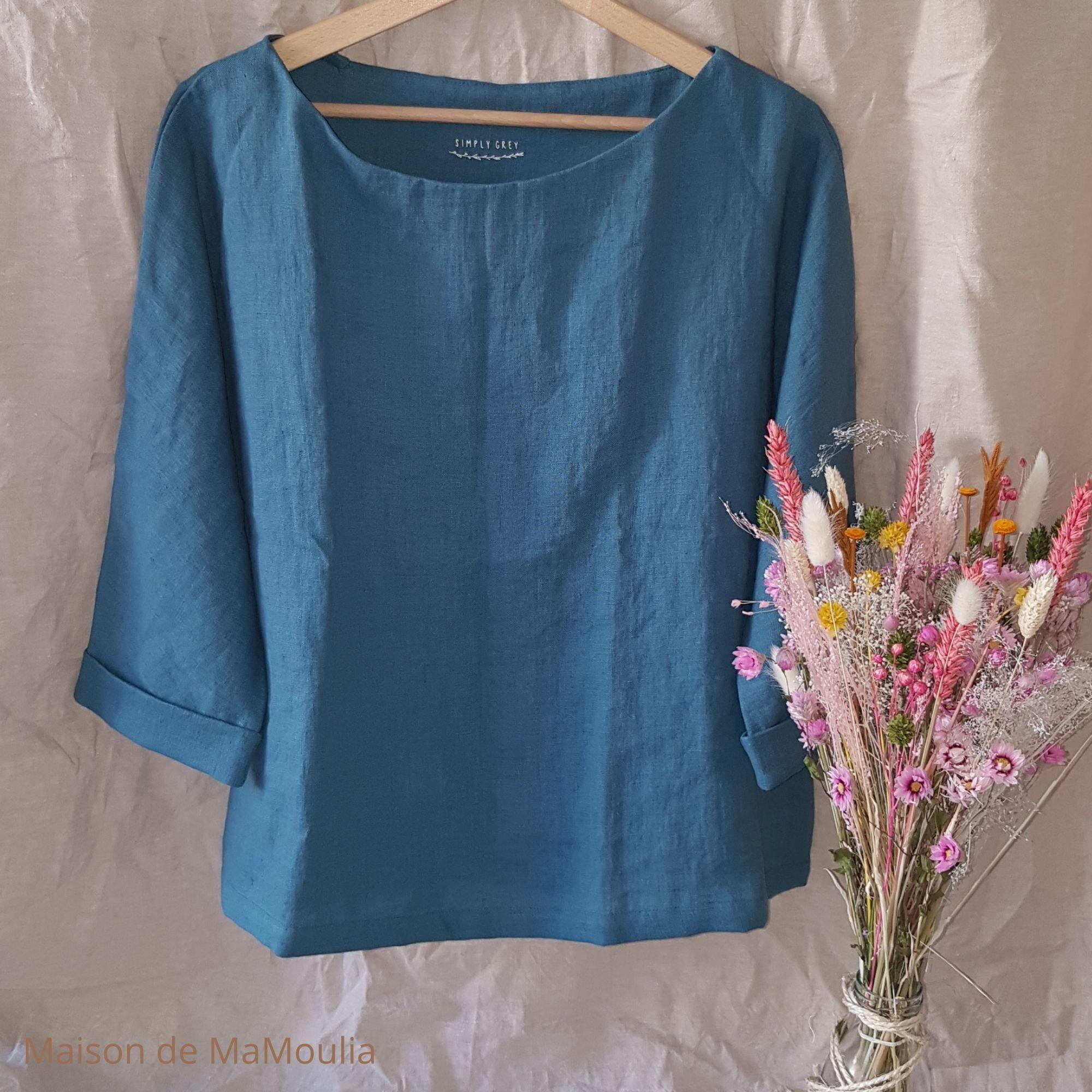 SIMPLY GREY - Blouse oversize - Manches 3/4 - pour femme - 100% lin lavé - Bleu Aqua