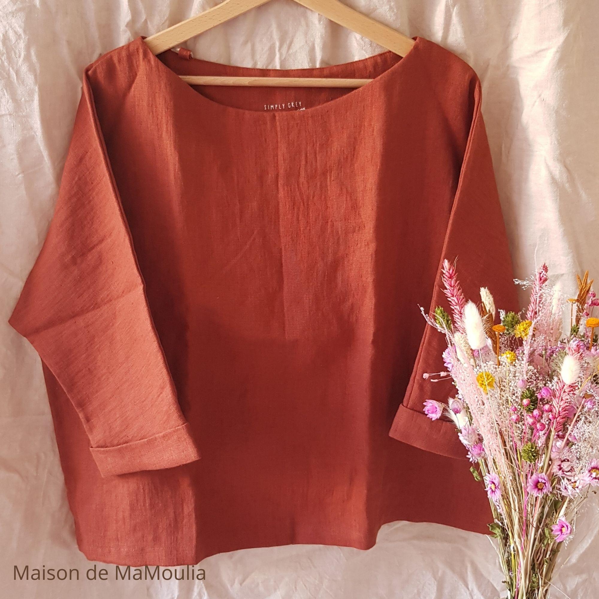 SIMPLY GREY - Blouse oversize - Manches 3/4 - pour femme - 100% lin lavé - Rouge brique