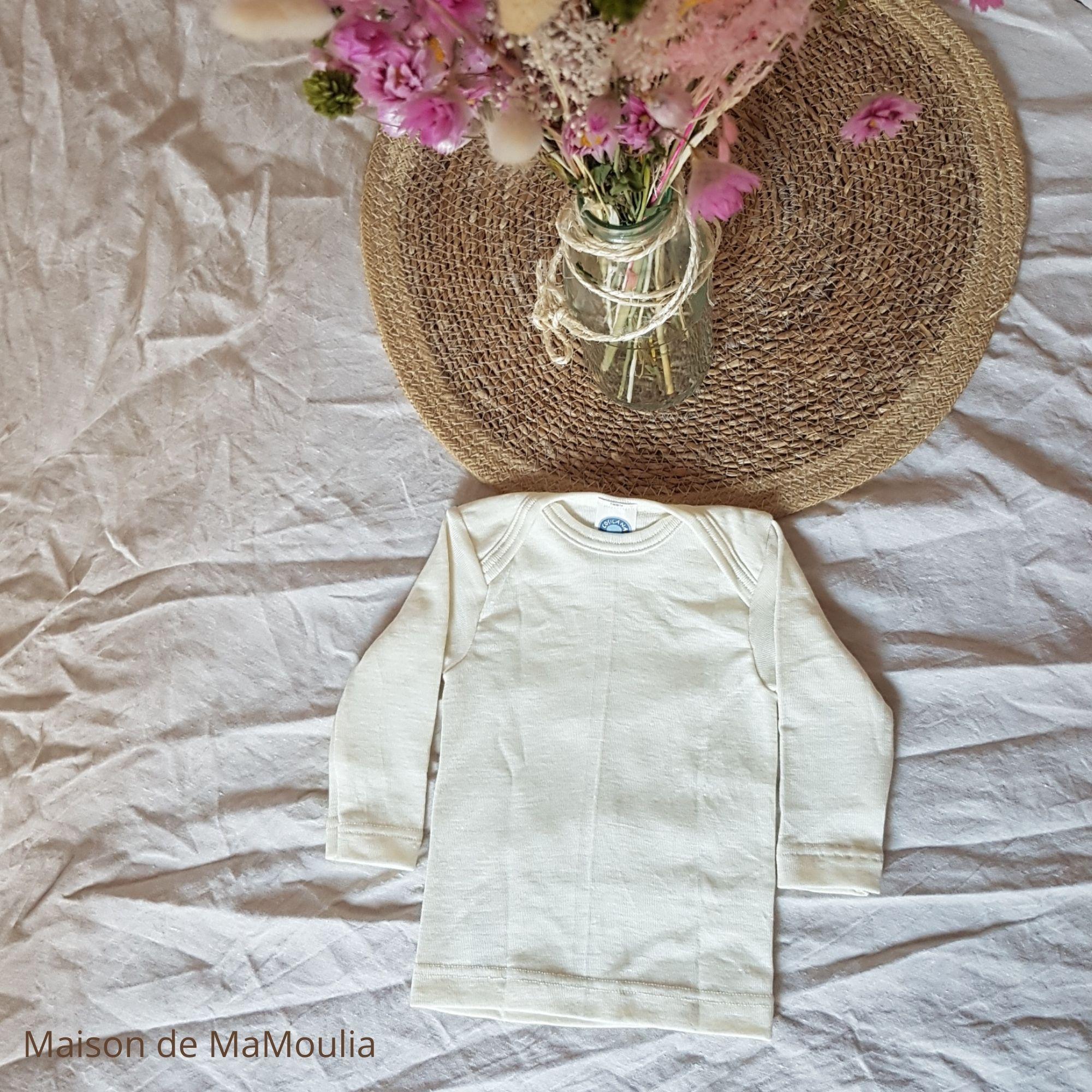 COSILANA - T-shirt à manches longues pour bébé et enfant - 70% laine/ 30% soie, Écru