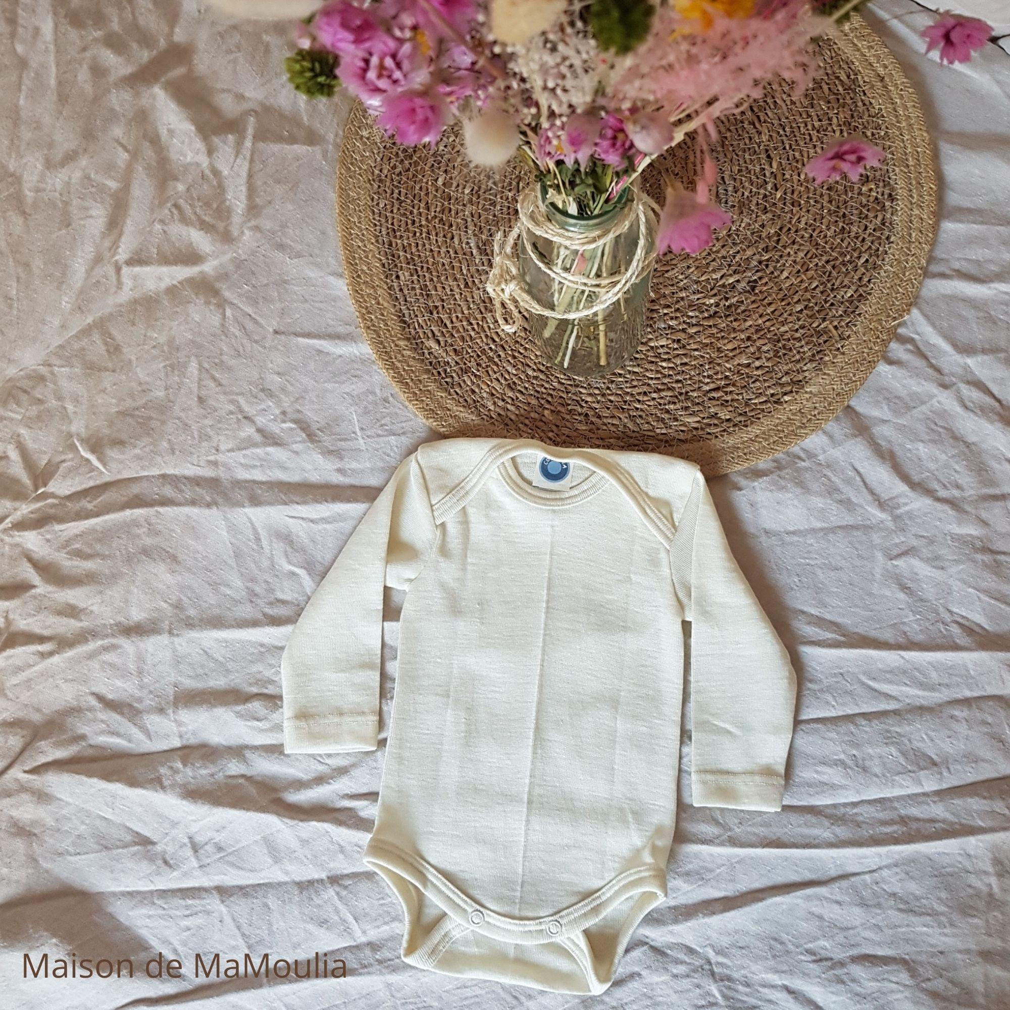 COSILANA - Body à manches longues pour bébé et enfant - 70% laine/ 30% soie, Écru
