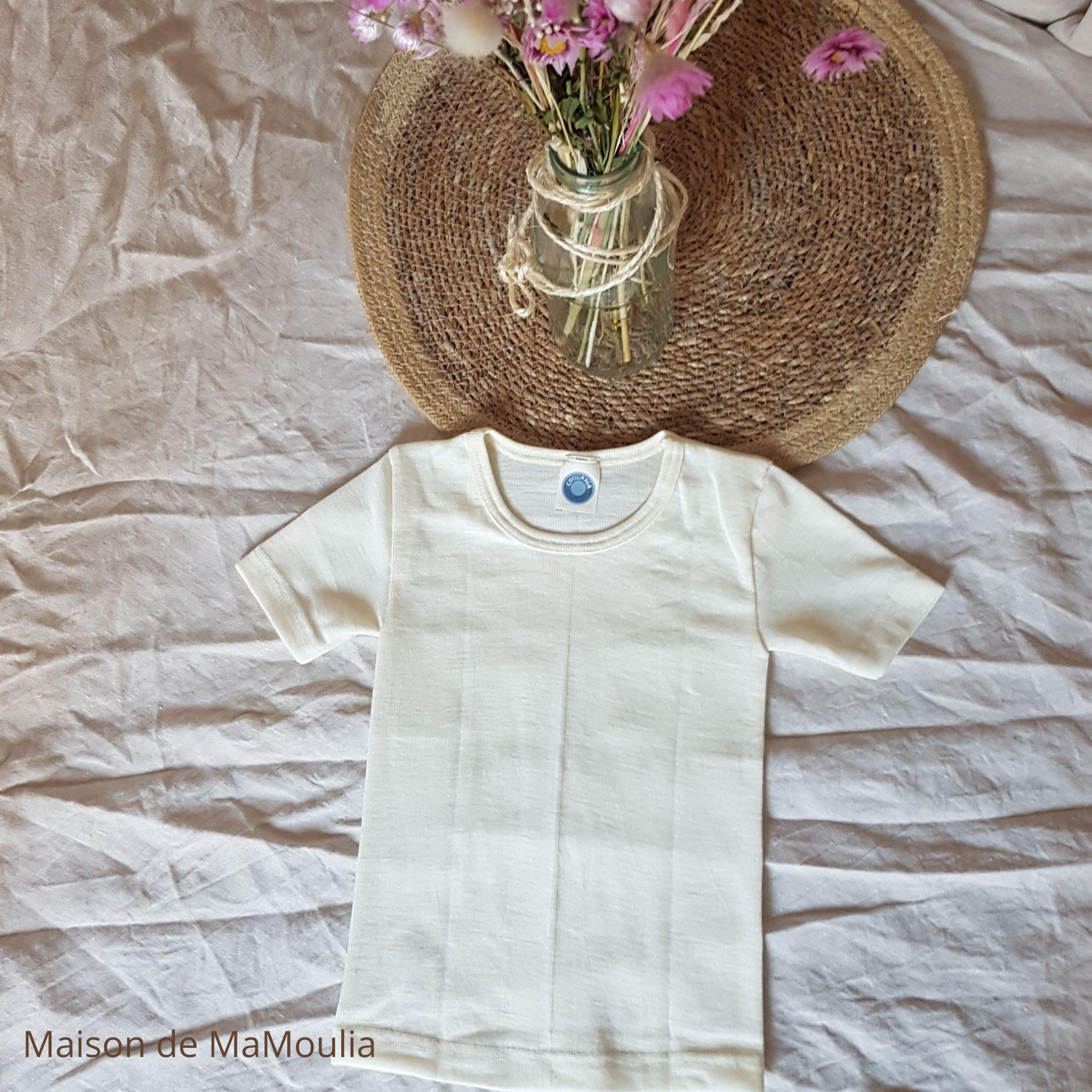 COSILANA - T-shirt thermorégulateur pour enfant - Manches courtes - 70% Laine/30% soie bio, Écru