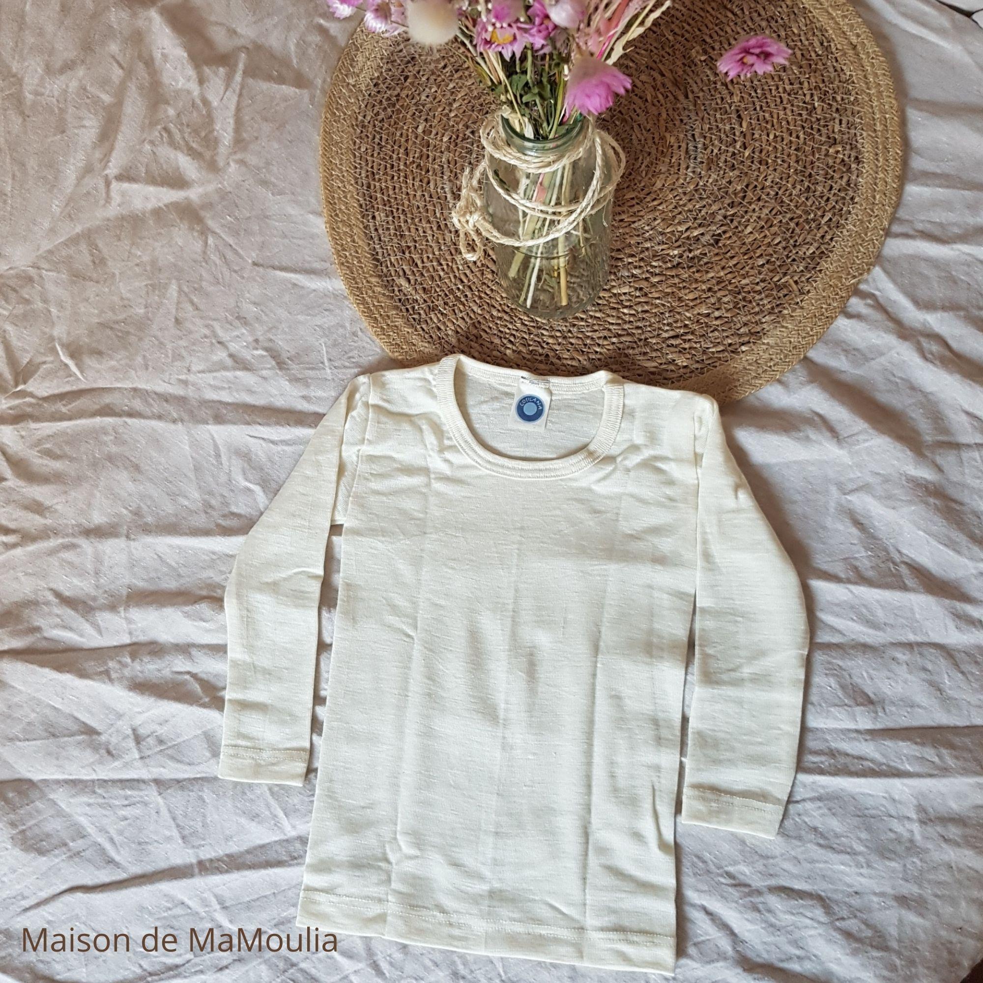 COSILANA - T-shirt manches longues - 70% Laine/30% soie bio, Écru