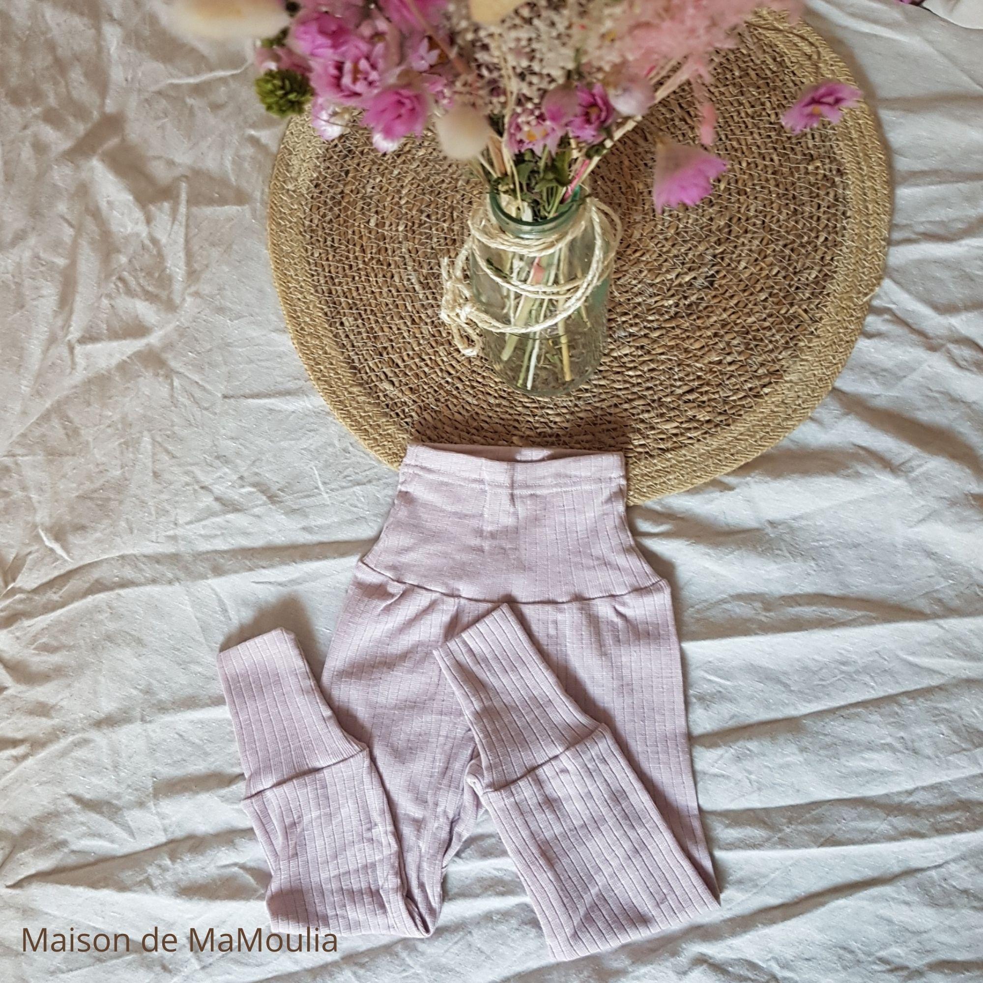 COSILANA - Pantalon avec ceinture large - bébé et enfant - Laine/Soie/Coton bio, Rose pale
