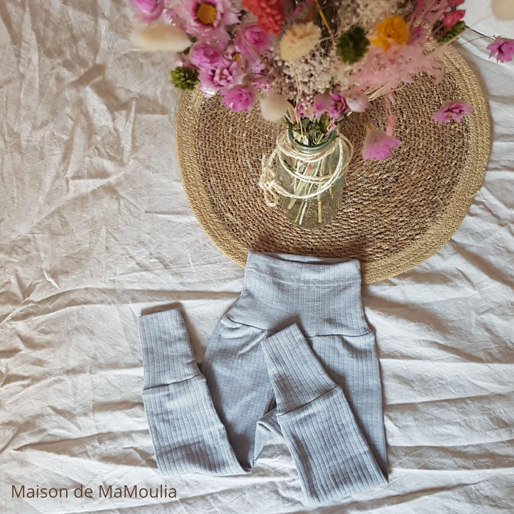 COSILANA - Pantalon avec ceinture large - bébé et enfant - Laine/Soie/Coton bio, Gris clair