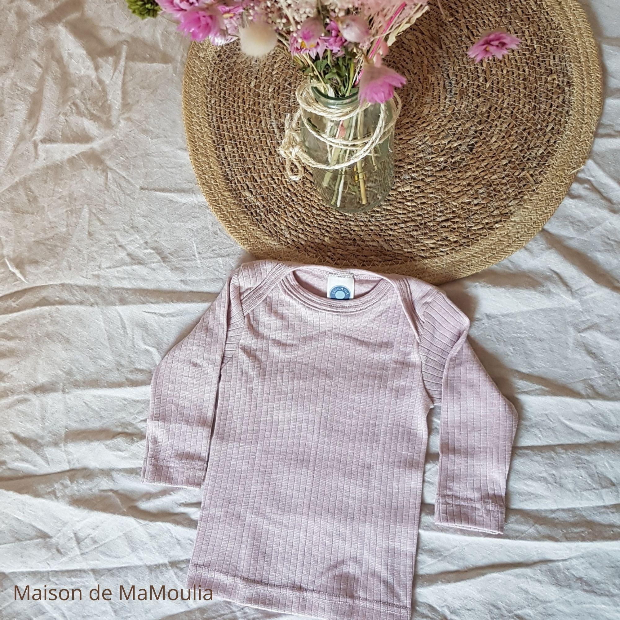 COSILANA - T-shirt manches longues - bébé et enfant - Laine/Soie/Coton bio, Rose pale