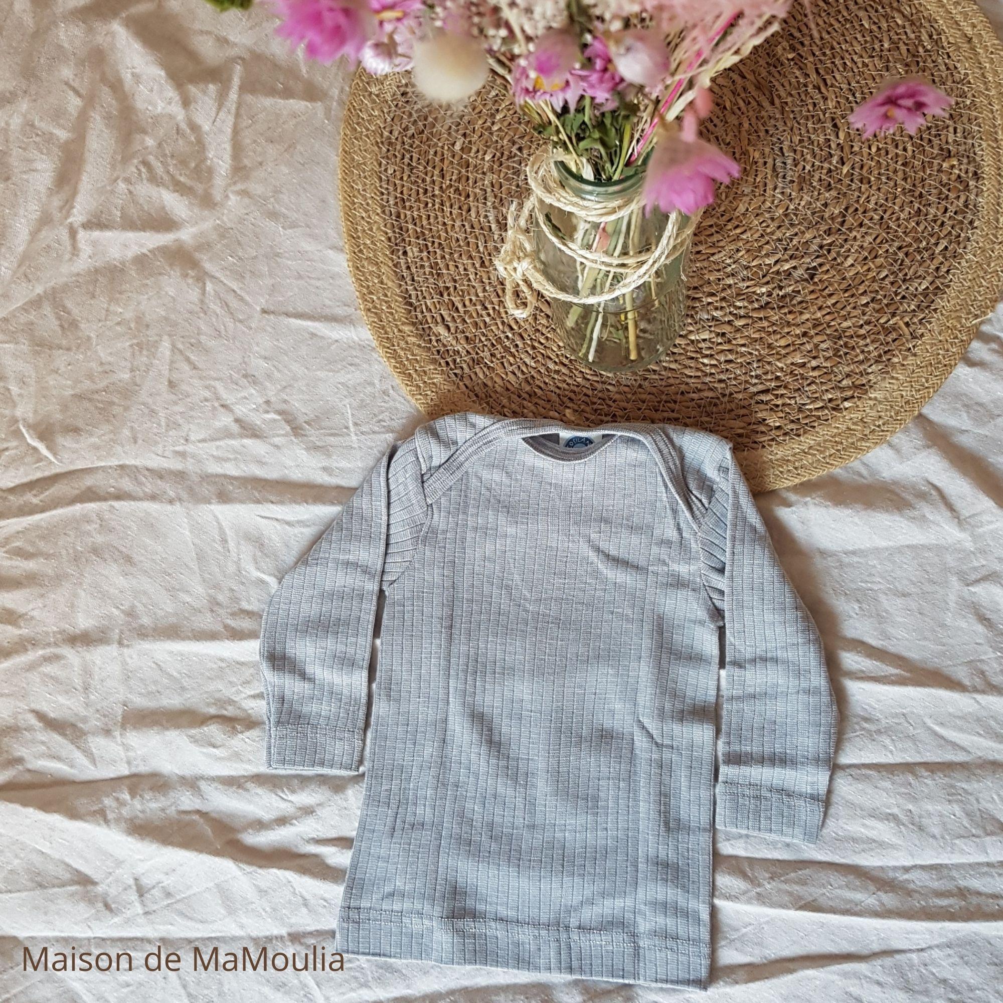 COSILANA - T-shirt manches longues - bébé et enfant - Laine/Soie/Coton bio, Gris clair
