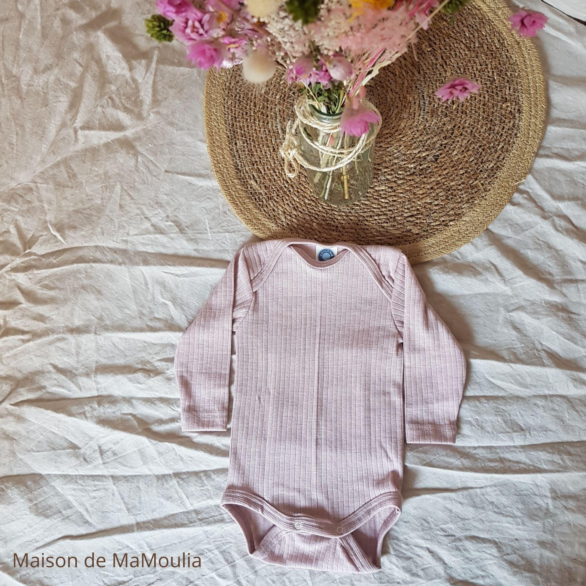 COSILANA - Body manches longues pour bébé - Laine/Soie/Coton bio, Rose pale