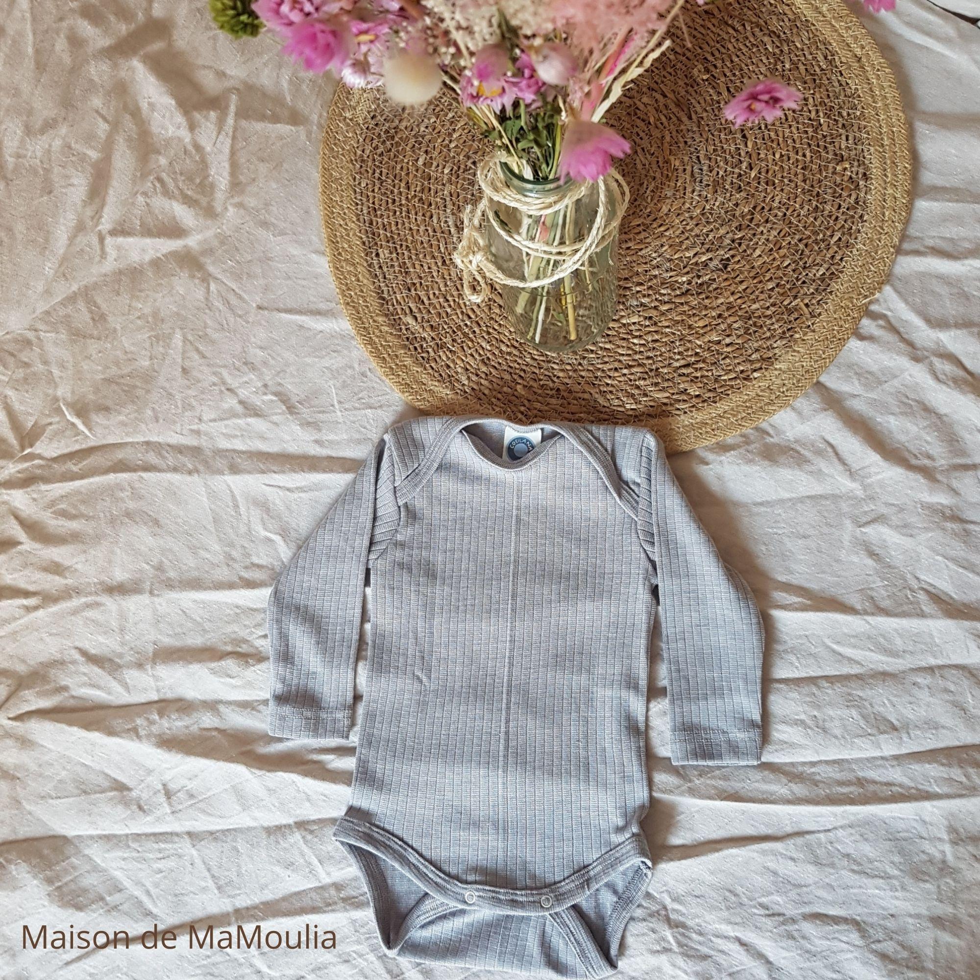 COSILANA - Body manches longues pour bébé - Laine/Soie/Coton bio, Gris clair