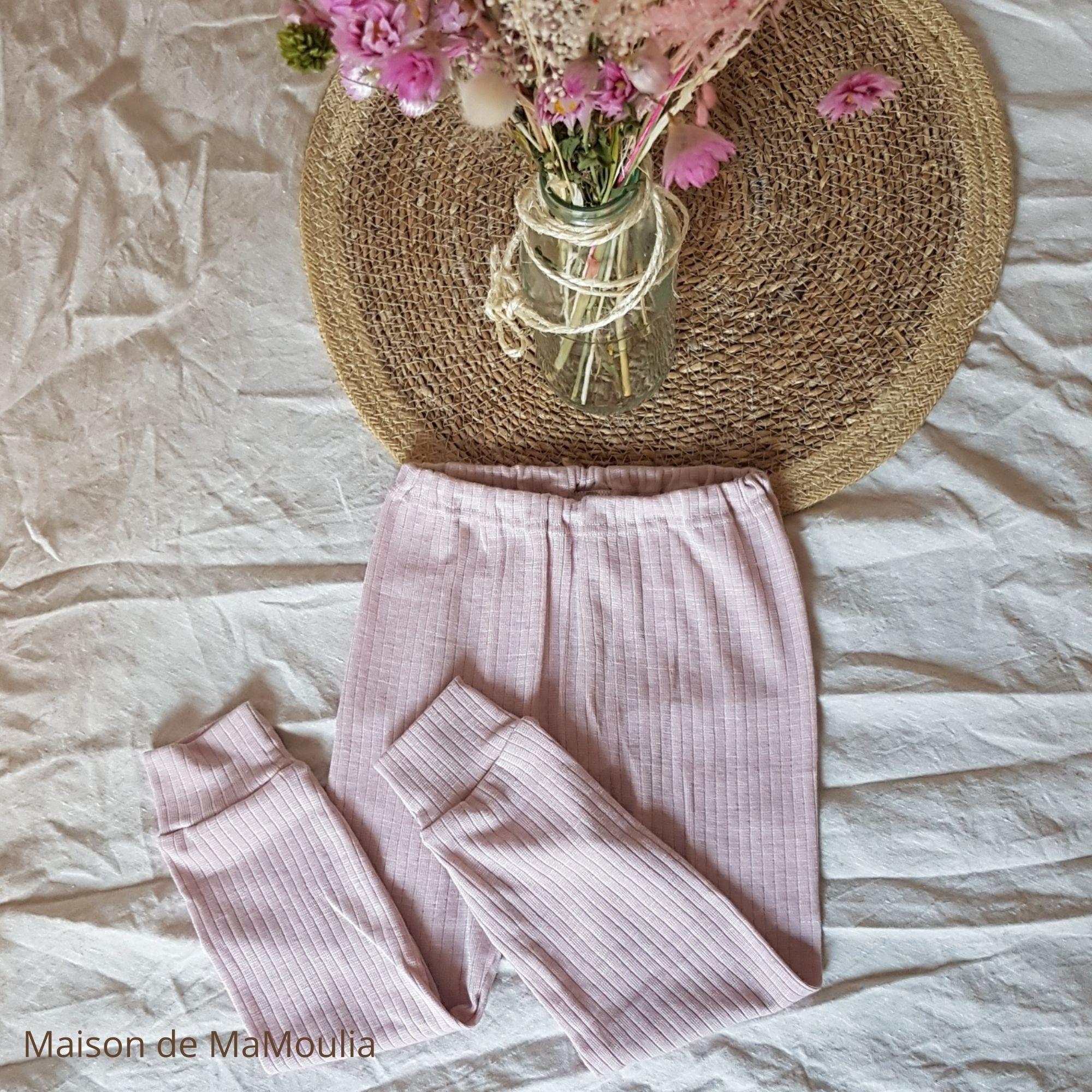 COSILANA - Pantalon-caleçon pour enfant - Laine/Soie/Coton bio, Rose pale