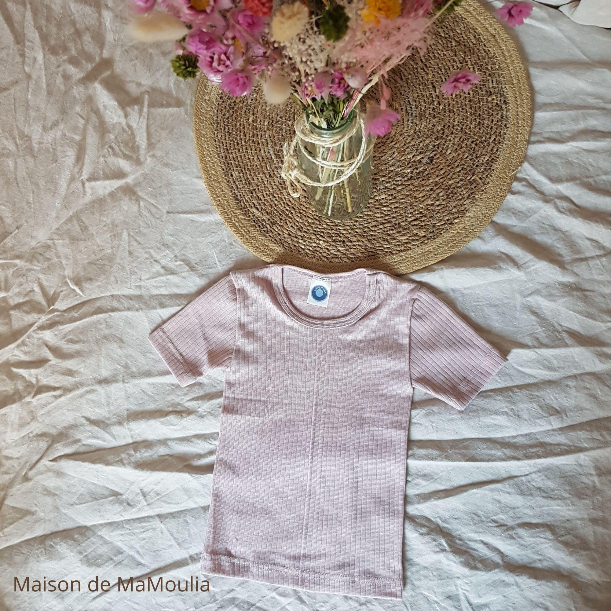 COSILANA - T-shirt à manches courtes pour enfant - Laine/Soie/Coton bio, Rose pale