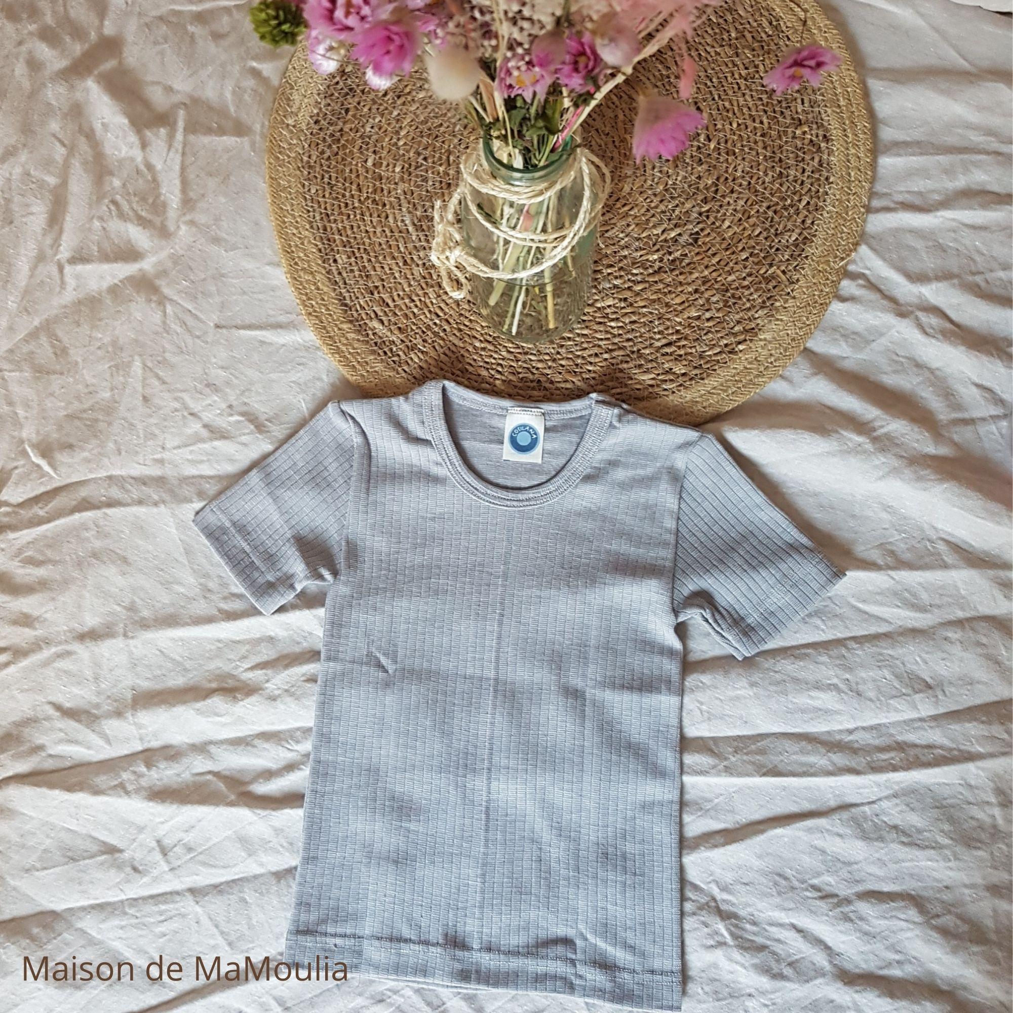 COSILANA - T-shirt manches courtes - Laine/Soie/Coton bio, Gris