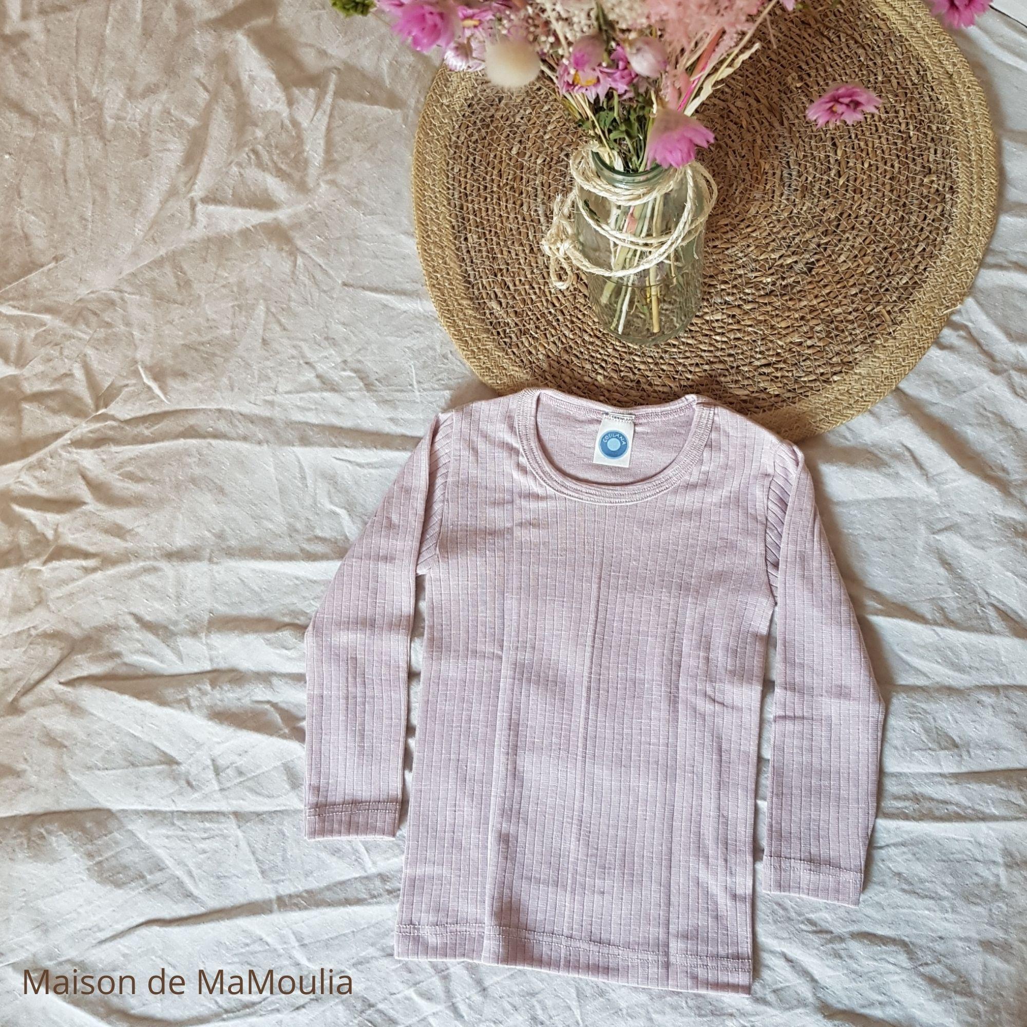 COSILANA - T-shirt à manches longues pour enfant - Laine/Soie/Coton bio, Rose pale