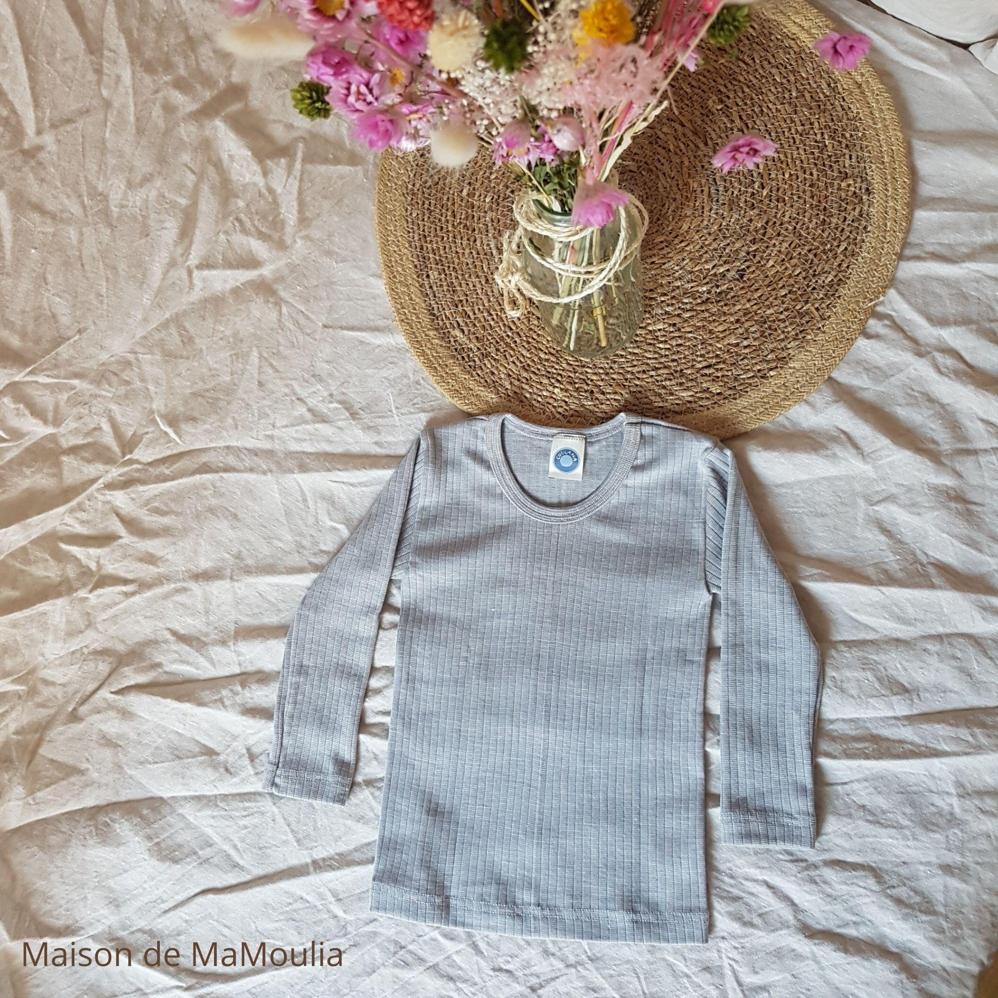 COSILANA - T-shirt manches longues - Laine/Soie/Coton bio, Gris