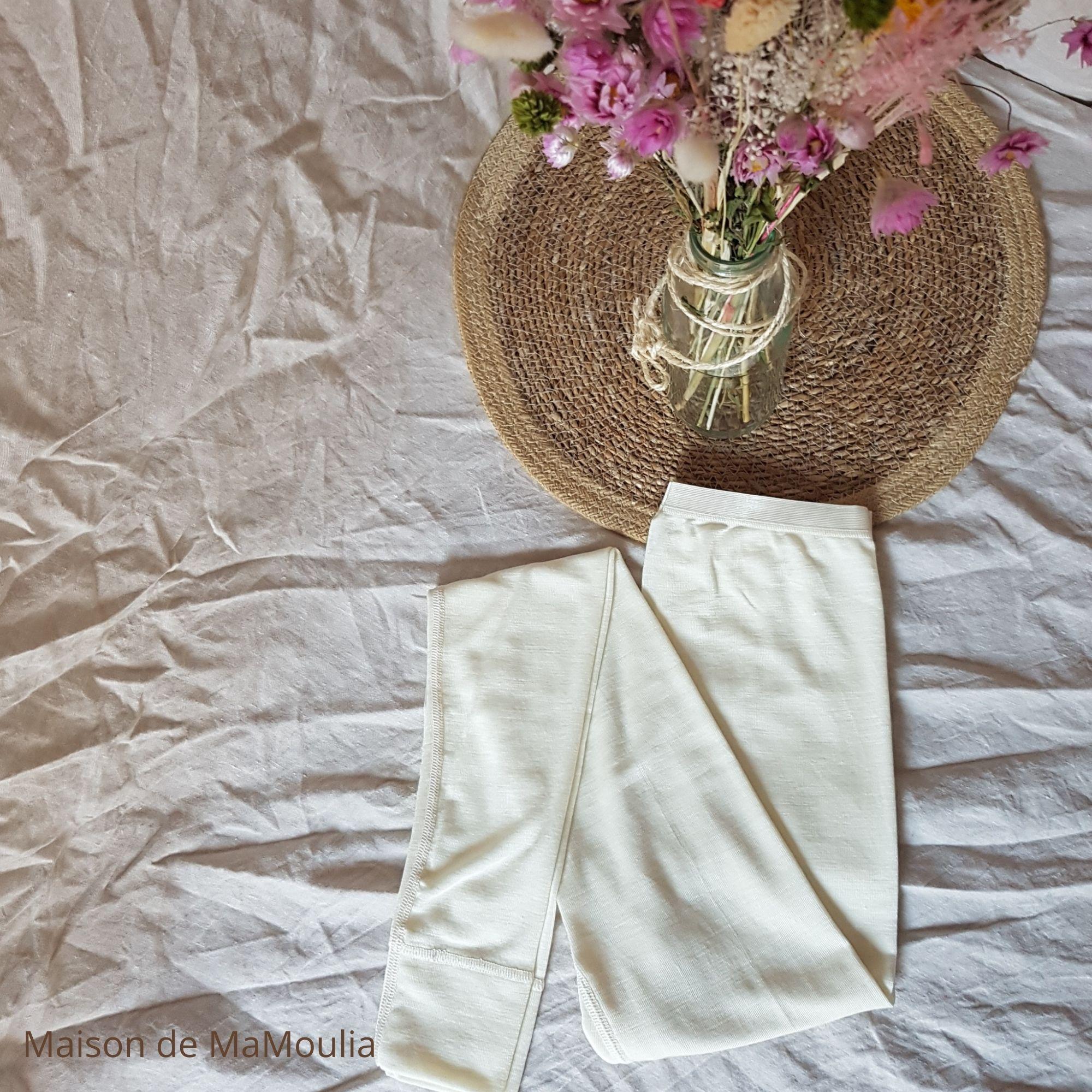 COSILANA - Legging pour Femme - 70% laine/ 30% soie, Écru