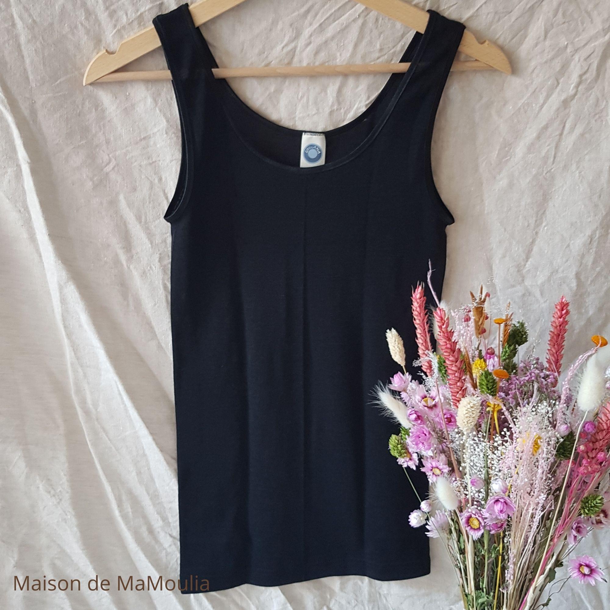 COSILANA - Débardeur à bretelles larges pour Femme - 70% laine/ 30% soie, Noir