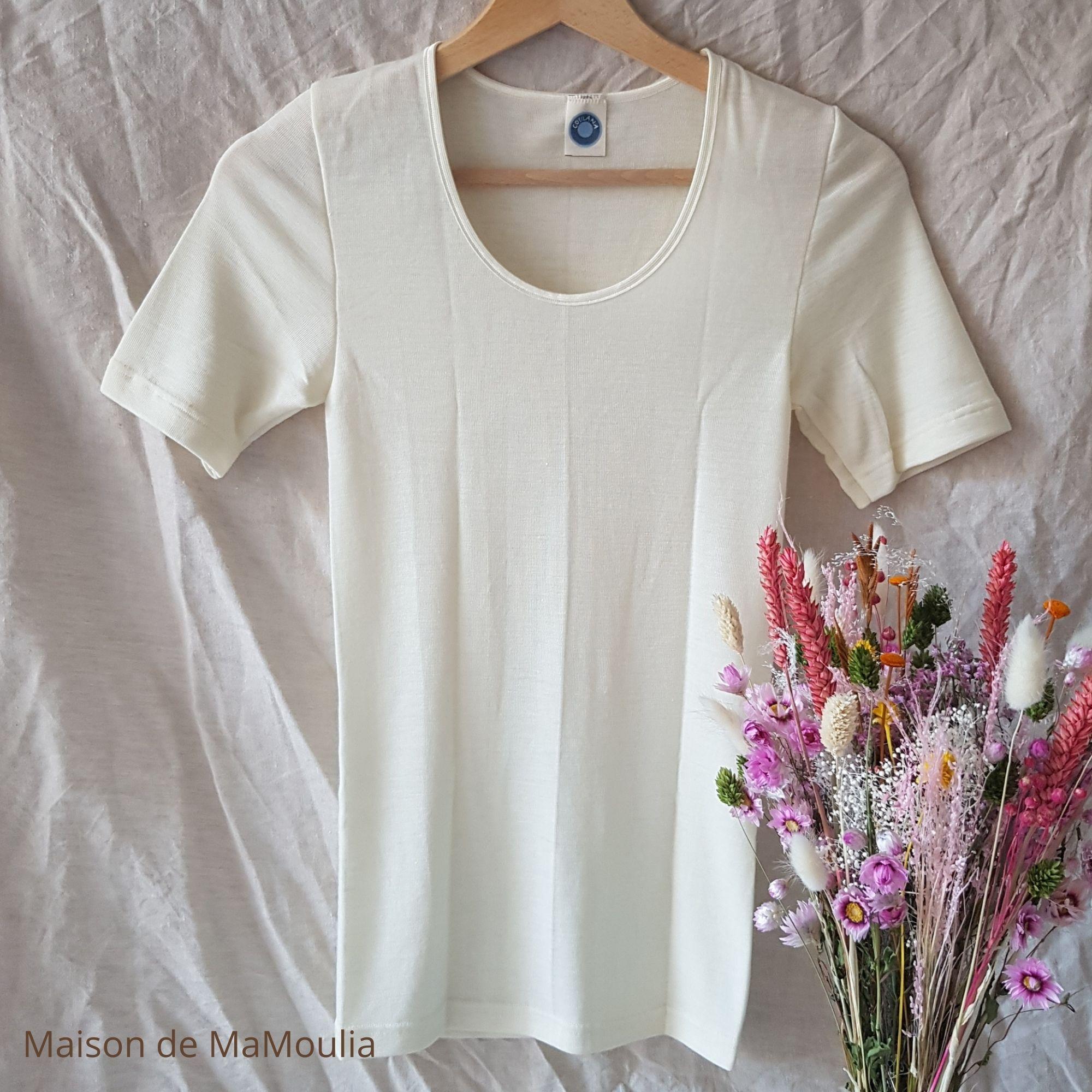 COSILANA - T-shirt à manches courtes pour Femme - 70% laine/ 30% soie, Écru
