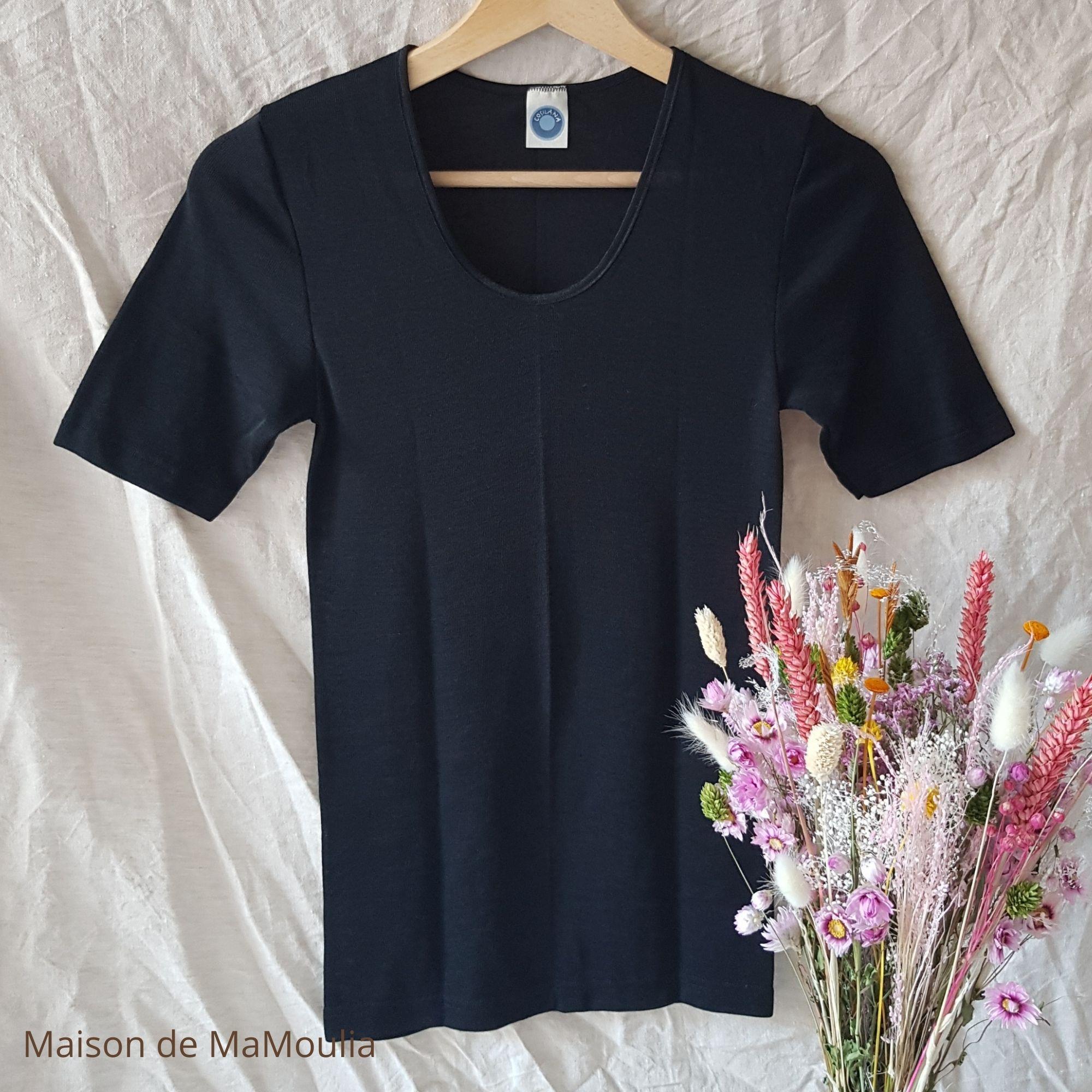 COSILANA - T-shirt manches courtes - 70% laine/ 30% soie, Noir