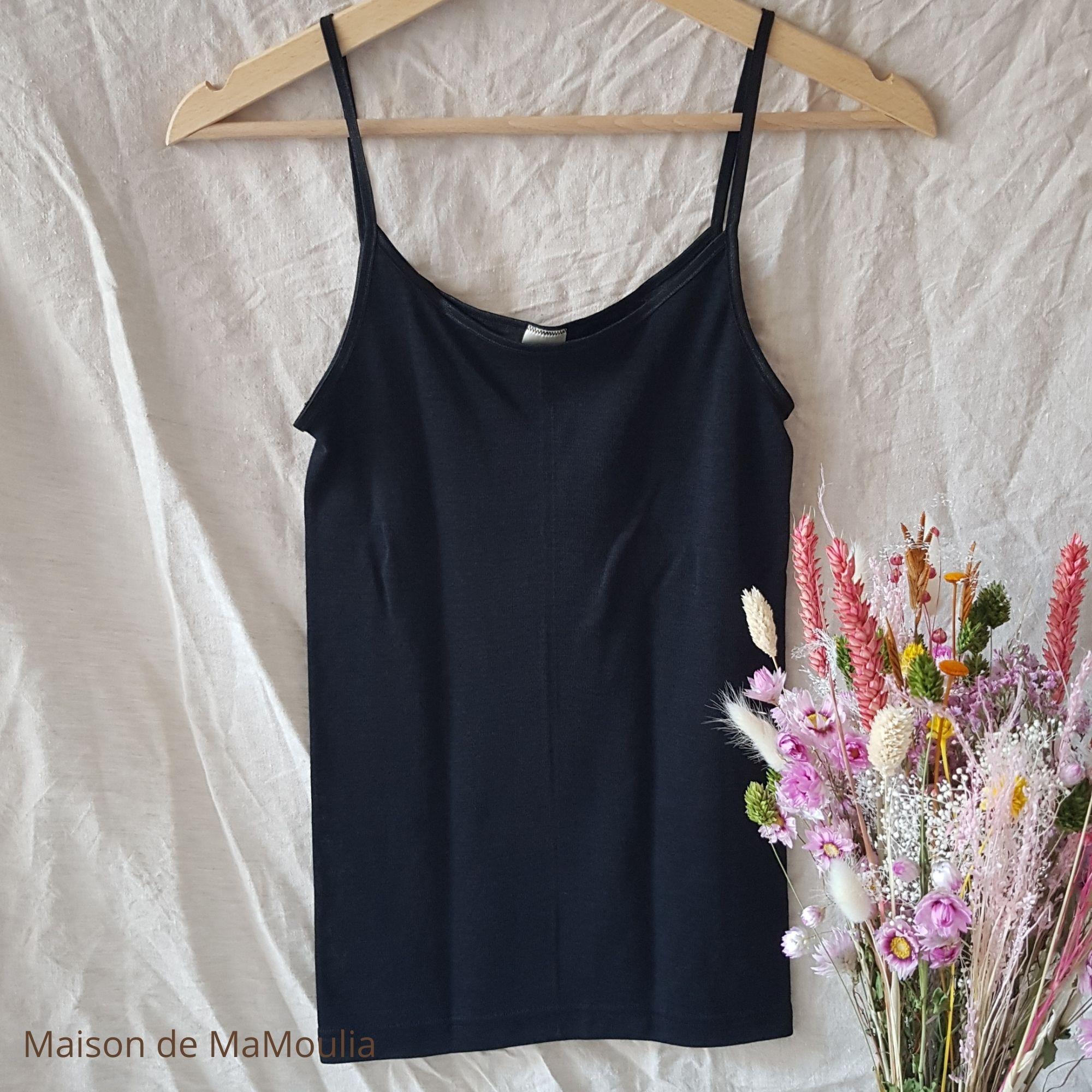 COSILANA - Débardeur à bretelles fines pour Femme - 70% laine/ 30% soie, Noir