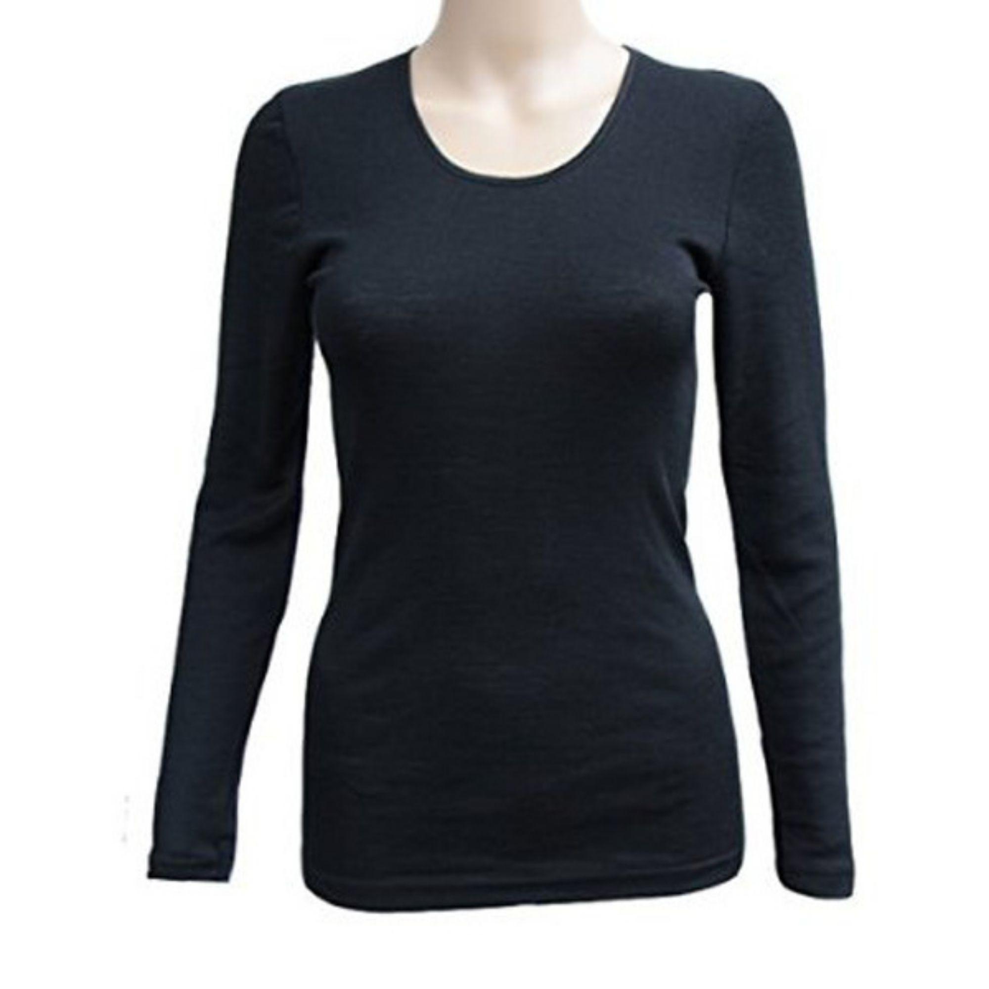 COSILANA - T-shirt à manches courtes pour Femme - 70% laine/ 30% soie, Noir