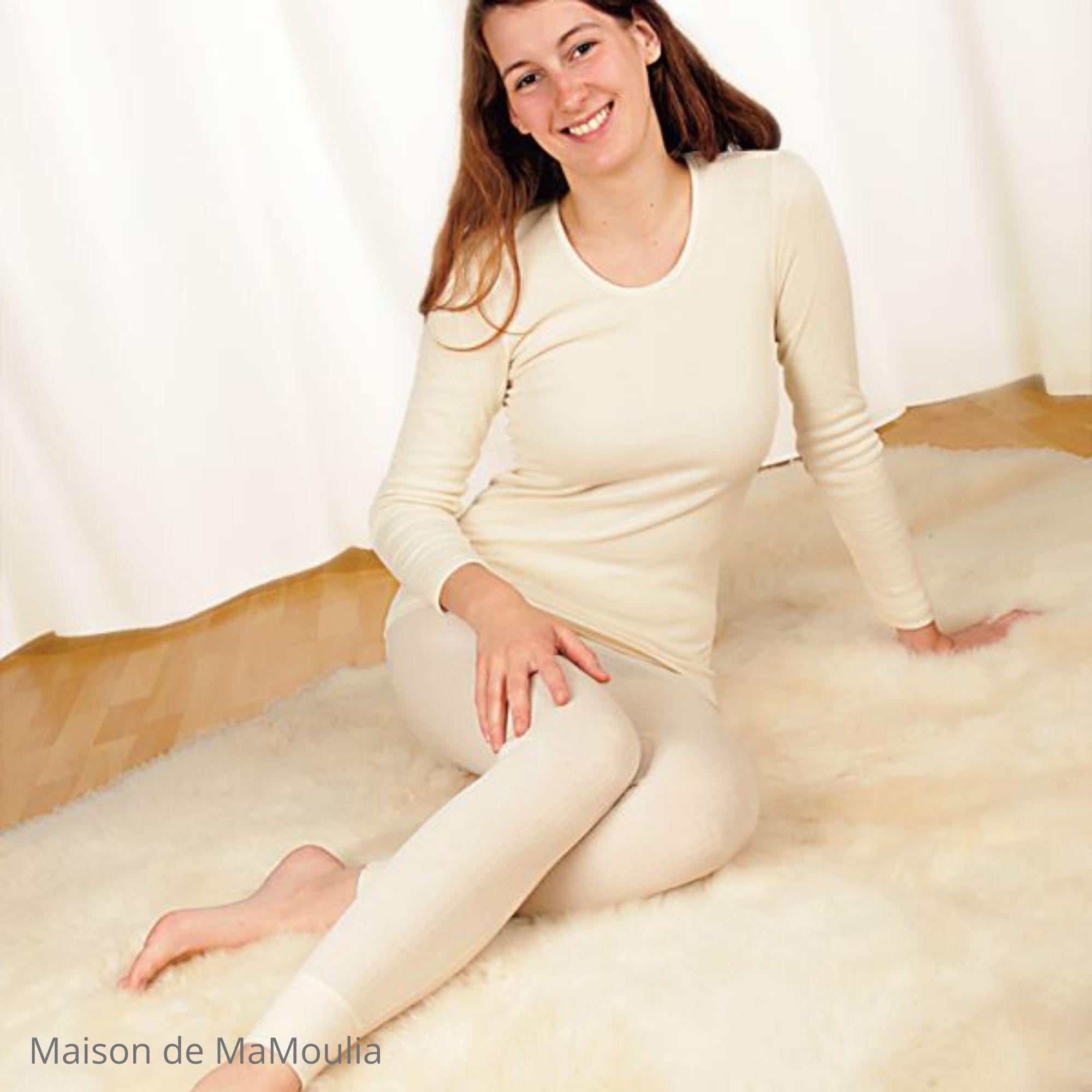 COSILANA - T-shirt manches longues - 70% laine/ 30% soie, Écru
