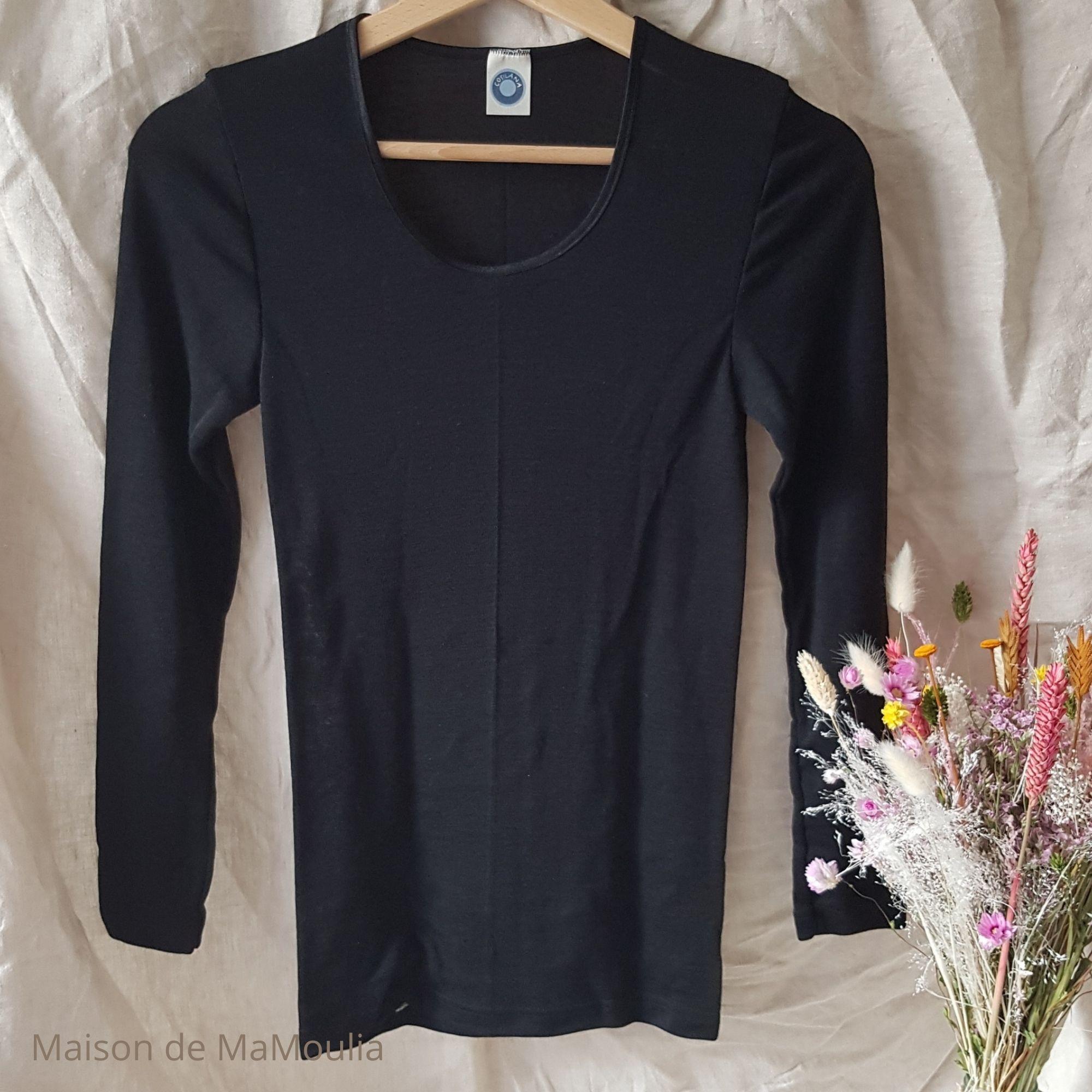 COSILANA - T-shirt manches longues - 70% laine/ 30% soie, Noir