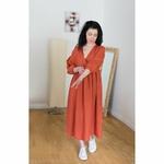 robe-longue-femme-manches-ballon-col-v-pur-lin-lave-français-offon-maison-de-mamoulia-rouge-brique-