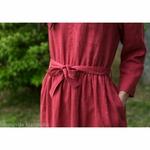 robe-midi-femme-manches-longues-col-bateau-100-lin-lave-français-offon-maison-de-mamoulia-rose- framboise-