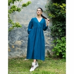 robe-longue-femme-manches-ballon-col-v-cache-coeur-100-lin-lave-français-offon-maison-de-mamoulia-teal-bleu--