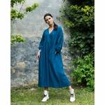 robe-longue-femme-manches-ballon-col-v-cache-coeur-pur-lin-lave-français-offon-maison-de-mamoulia-teal-bleu--
