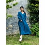 robe-longue-femme-manches-ballon-col-v-pur-lin-lave-français-offon-maison-de-mamoulia-teal-bleu-turquoise