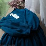 robe-longue-femme-manches-ballon-col-v-cache-coeur-pur-lin-lave-français-offon-maison-de-mamoulia-teal-bleu-turquoise